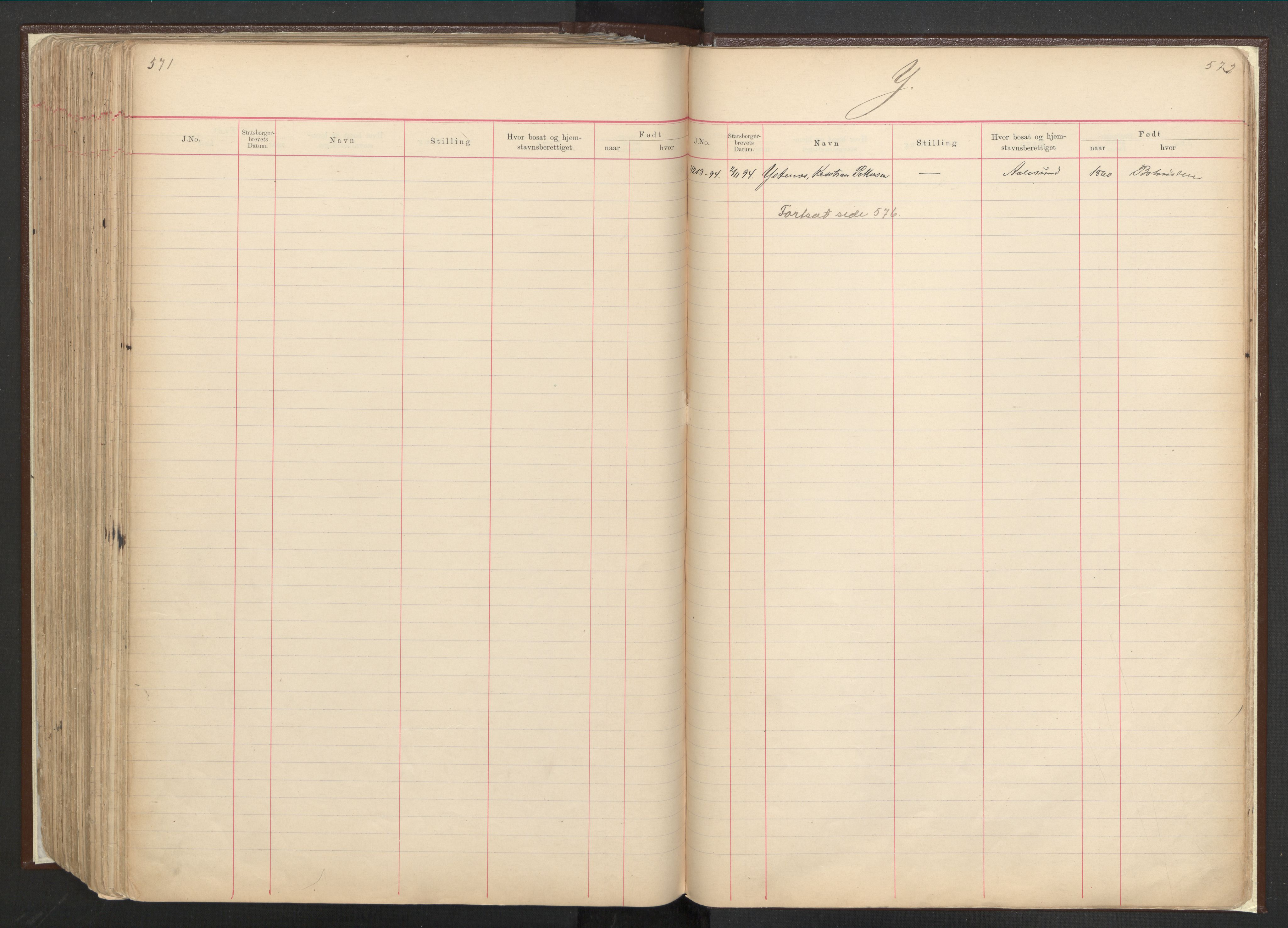 RA, Justisdepartementet, 3. politikontor P3, C/Cc/L0001: Journal over statsborgersaker, 1891-1946, s. 571-572