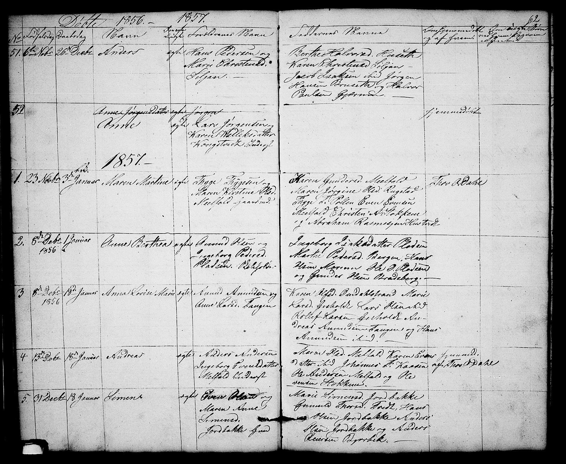 SAKO, Solum kirkebøker, G/Gb/L0001: Klokkerbok nr. II 1, 1848-1859, s. 62