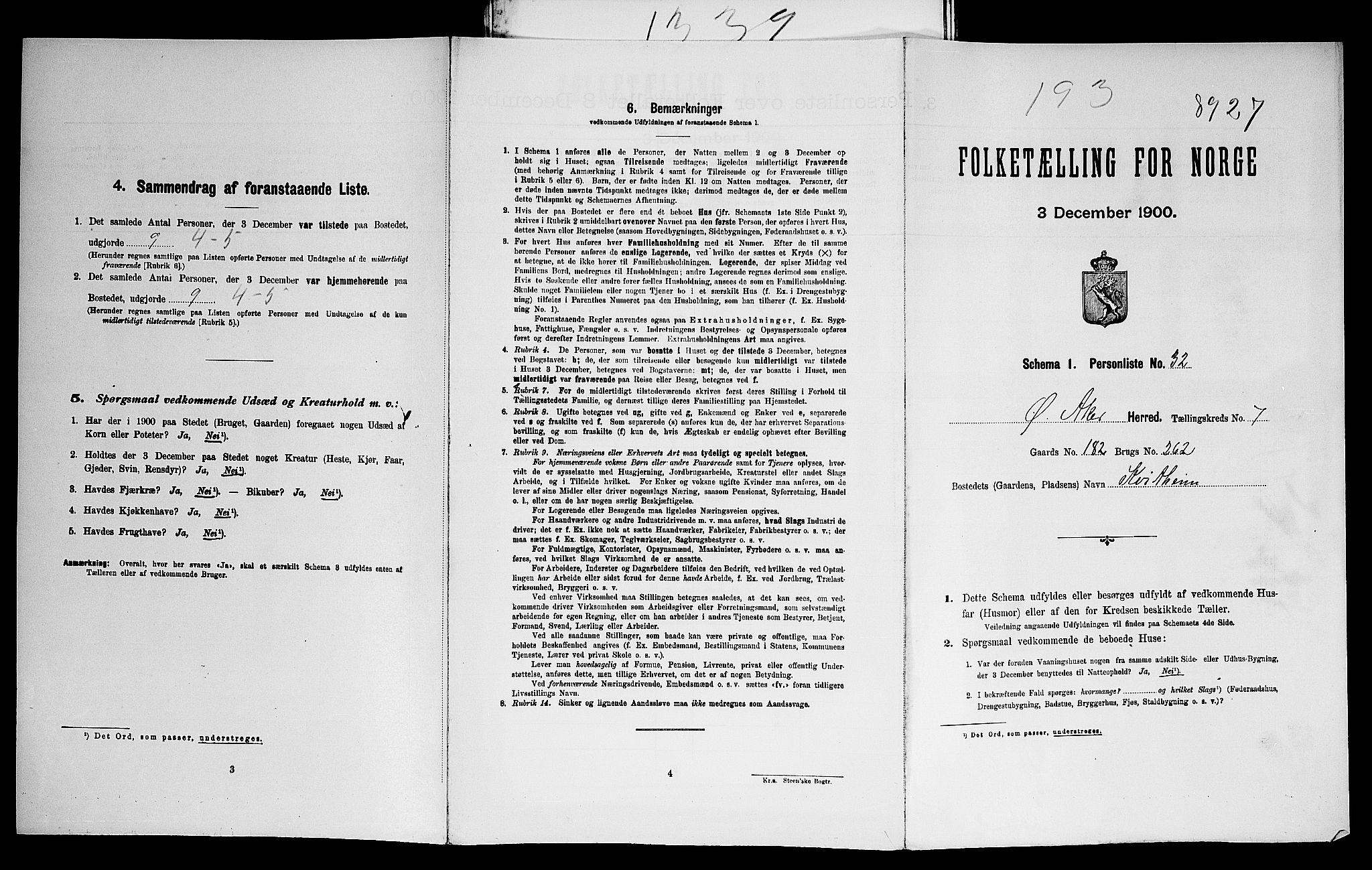 SAO, Folketelling 1900 for 0218 Aker herred, 1900