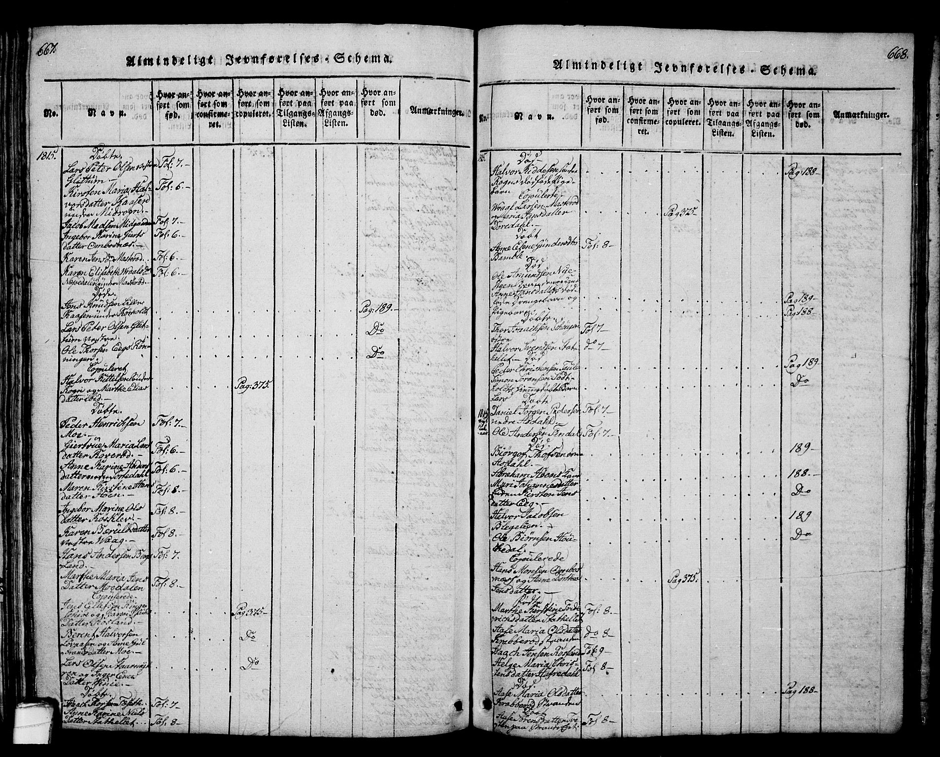 SAKO, Bamble kirkebøker, G/Ga/L0005: Klokkerbok nr. I 5, 1814-1855, s. 667-668