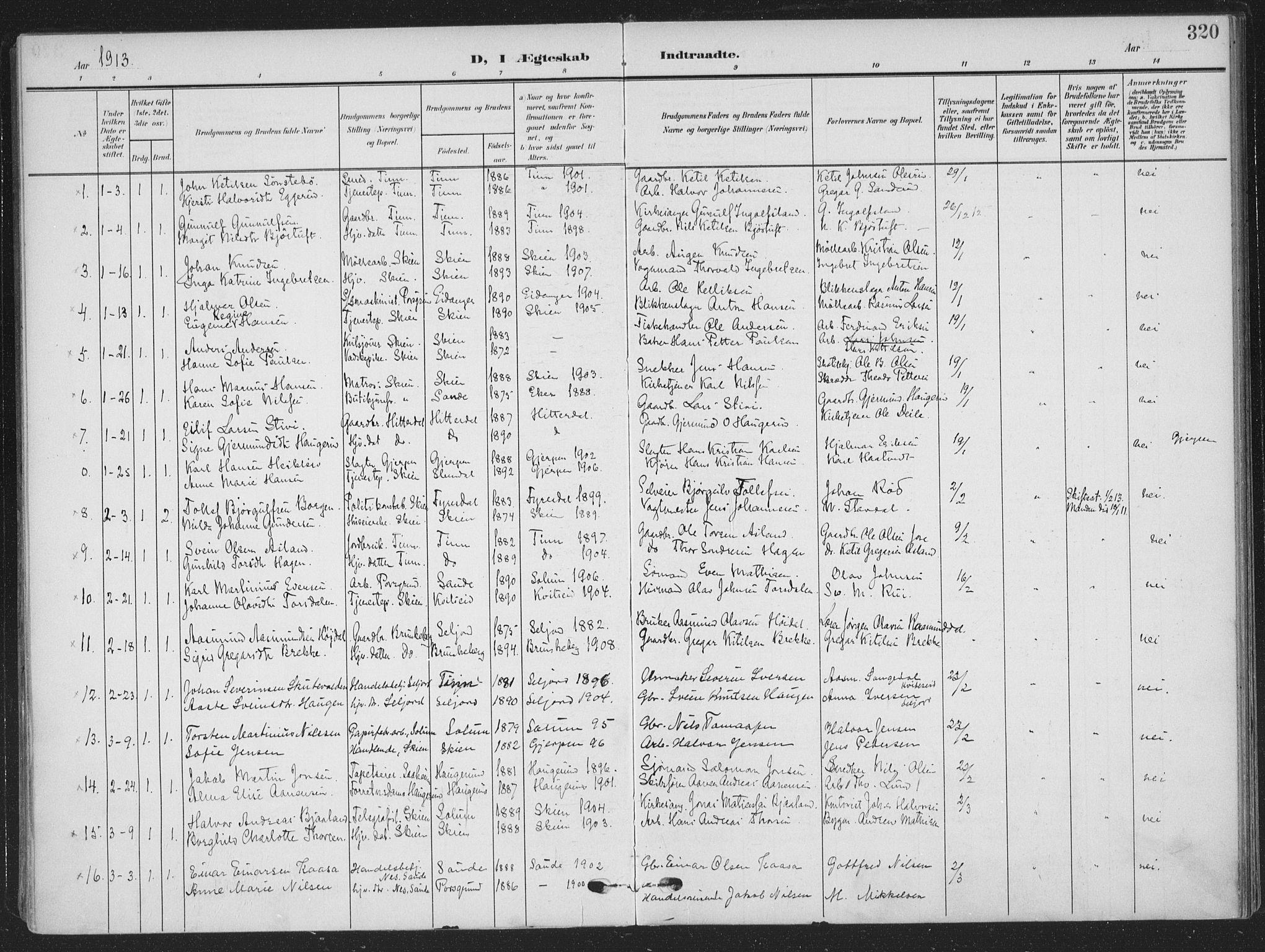 SAKO, Skien kirkebøker, F/Fa/L0012: Ministerialbok nr. 12, 1908-1914, s. 320