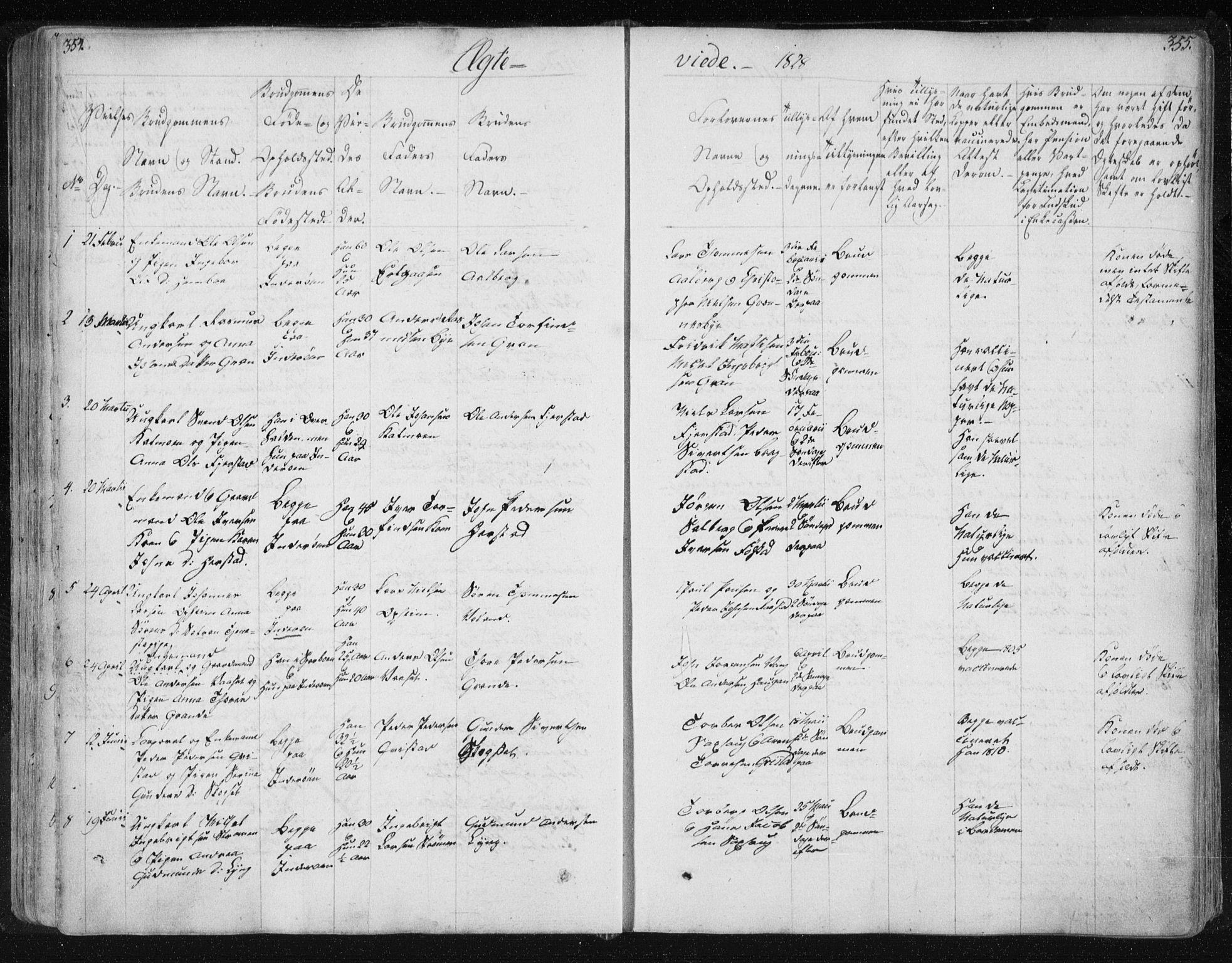 SAT, Ministerialprotokoller, klokkerbøker og fødselsregistre - Nord-Trøndelag, 730/L0276: Ministerialbok nr. 730A05, 1822-1830, s. 354-355