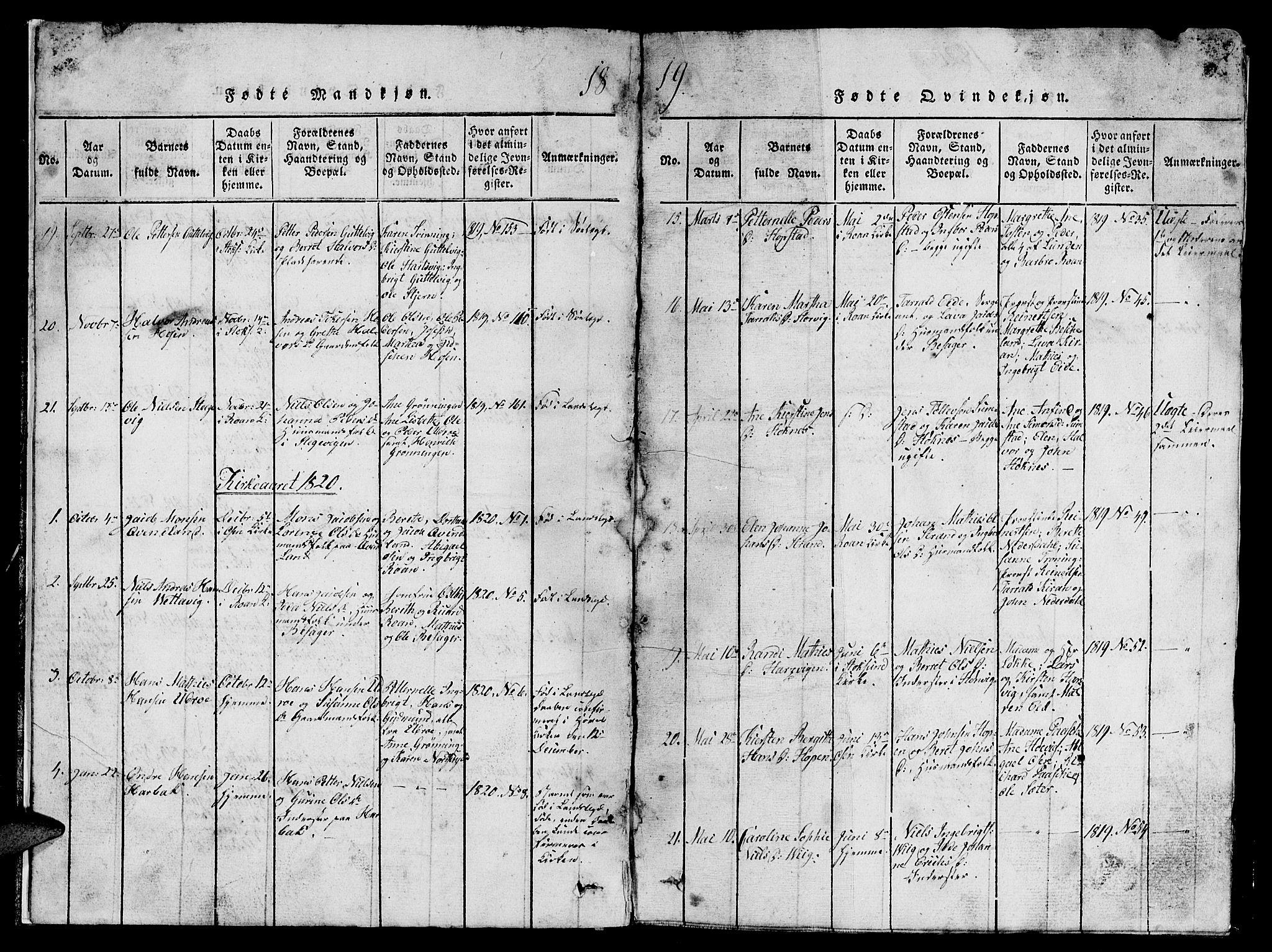 SAT, Ministerialprotokoller, klokkerbøker og fødselsregistre - Sør-Trøndelag, 657/L0714: Klokkerbok nr. 657C01, 1818-1868, s. 9