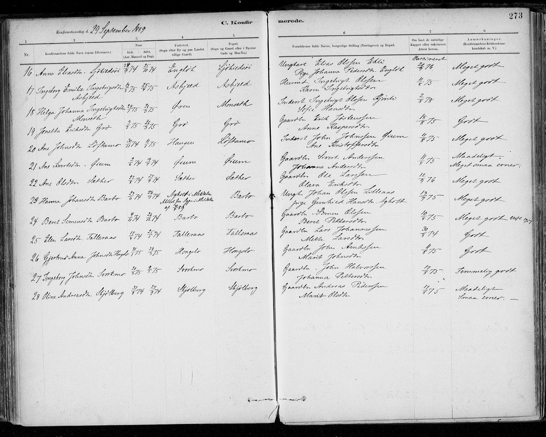 SAT, Ministerialprotokoller, klokkerbøker og fødselsregistre - Sør-Trøndelag, 668/L0809: Ministerialbok nr. 668A09, 1881-1895, s. 273