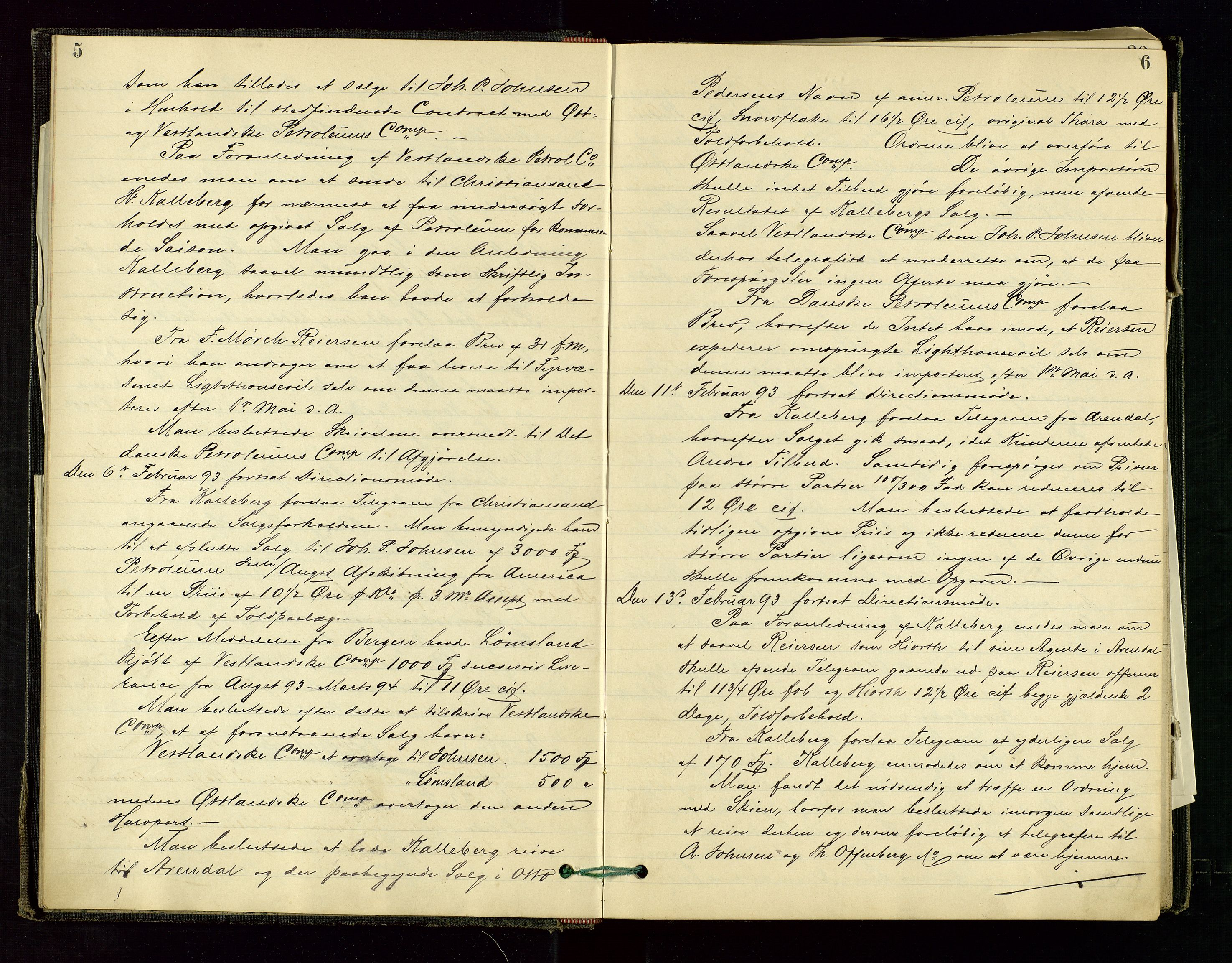 SAST, PA 1534 - Østlandske Petroleumscompagni A/S, A/Aa/L0001: Generalforsamlinger og direksjonsprotokoller., 1892-1905, s. 5-6
