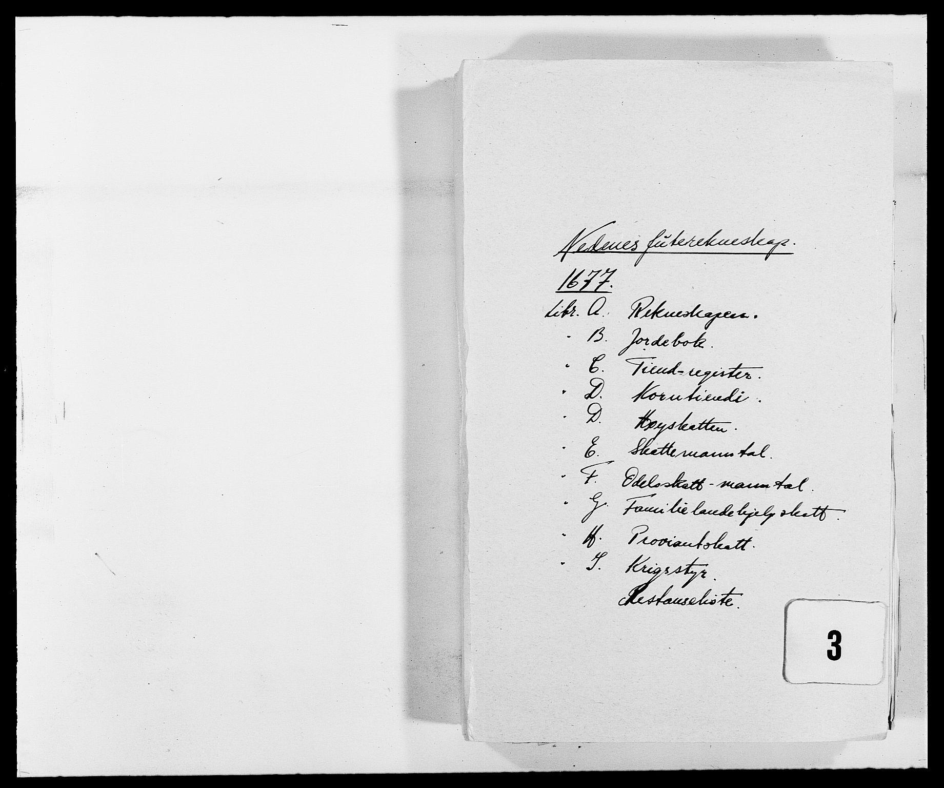 RA, Rentekammeret inntil 1814, Reviderte regnskaper, Fogderegnskap, R39/L2302: Fogderegnskap Nedenes, 1677-1678, s. 1