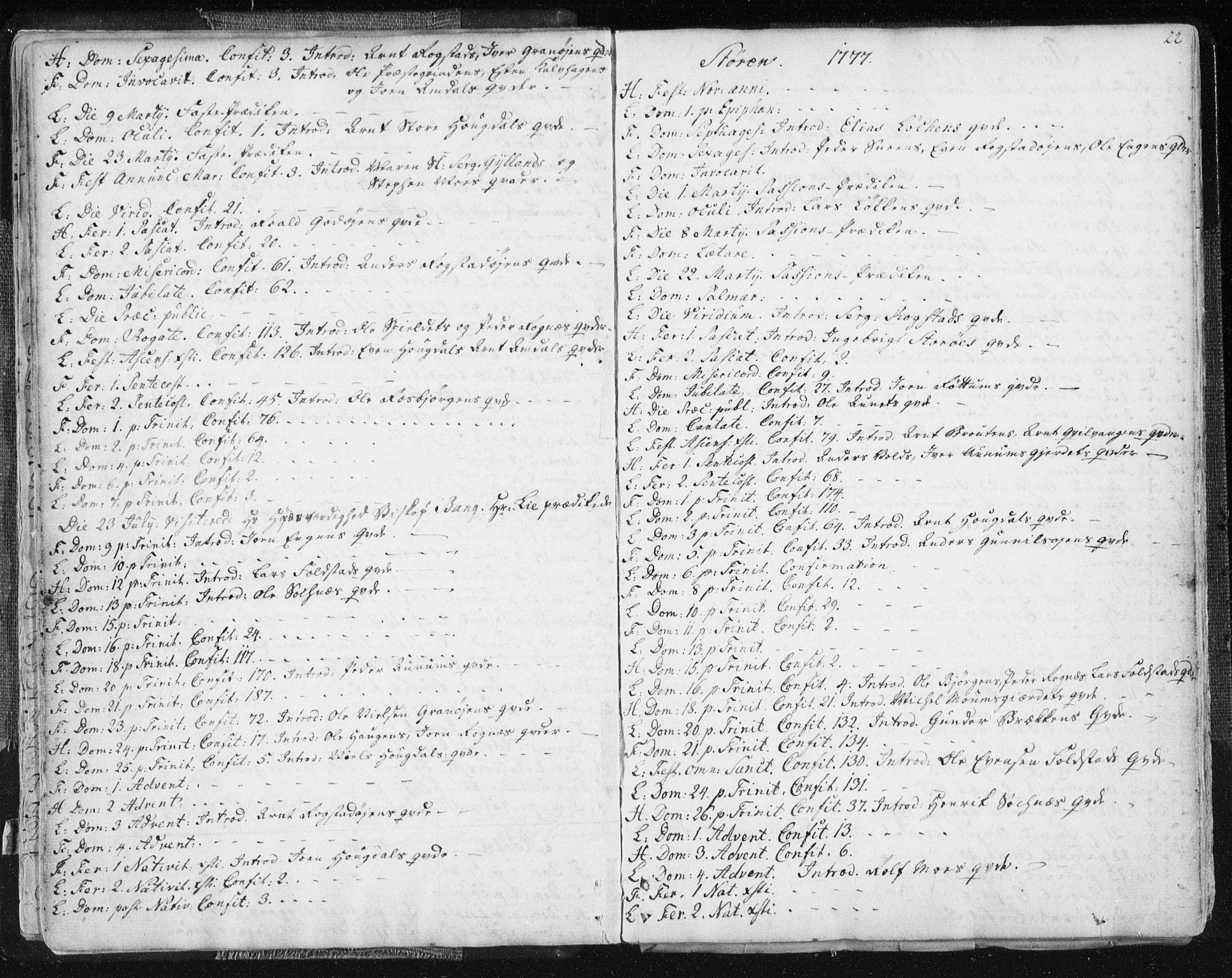 SAT, Ministerialprotokoller, klokkerbøker og fødselsregistre - Sør-Trøndelag, 687/L0991: Ministerialbok nr. 687A02, 1747-1790, s. 22