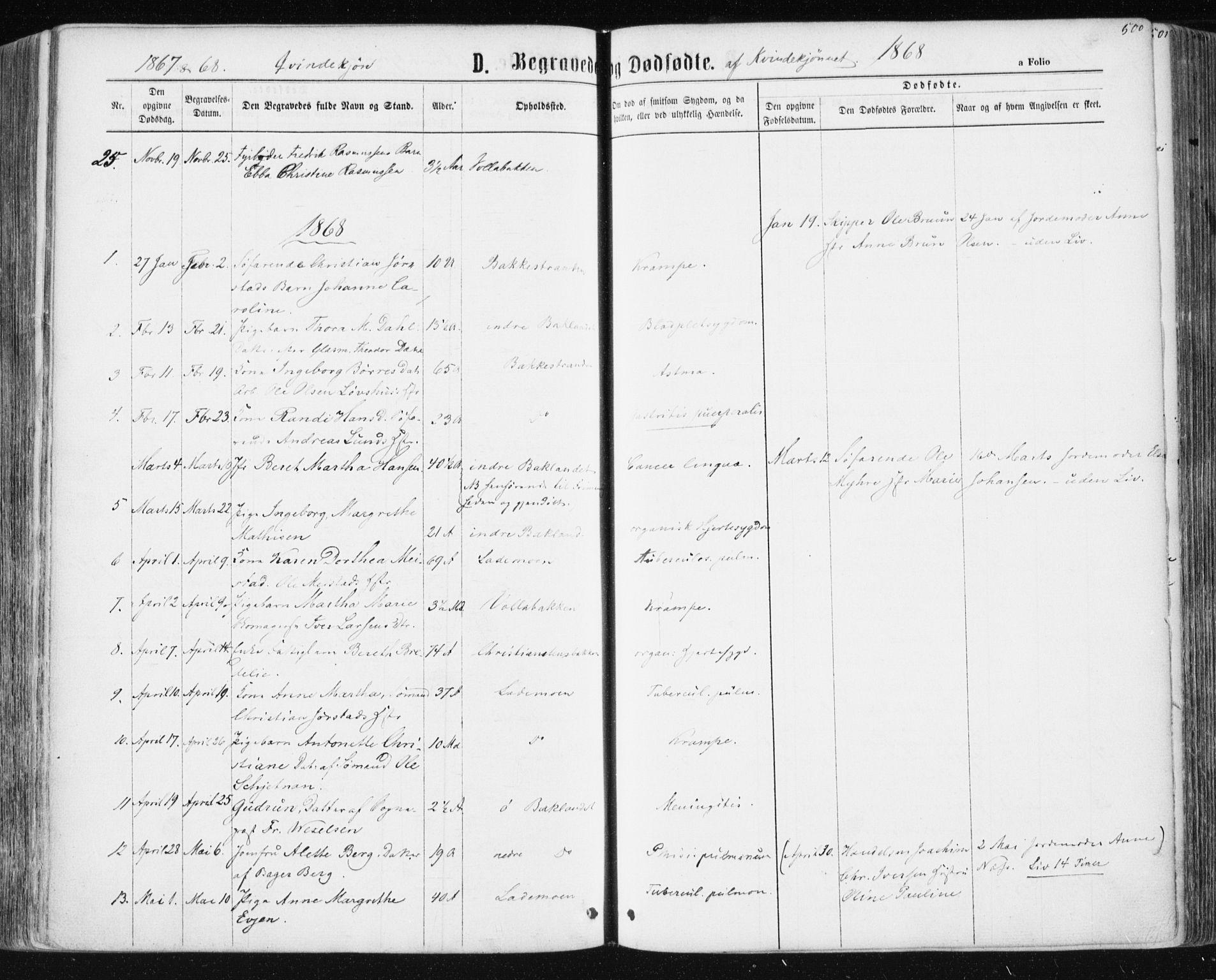 SAT, Ministerialprotokoller, klokkerbøker og fødselsregistre - Sør-Trøndelag, 604/L0186: Ministerialbok nr. 604A07, 1866-1877, s. 500