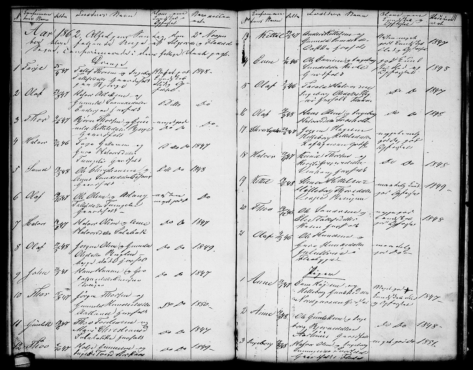 SAKO, Seljord kirkebøker, G/Ga/L0002: Klokkerbok nr. I 2, 1838-1866, s. 111