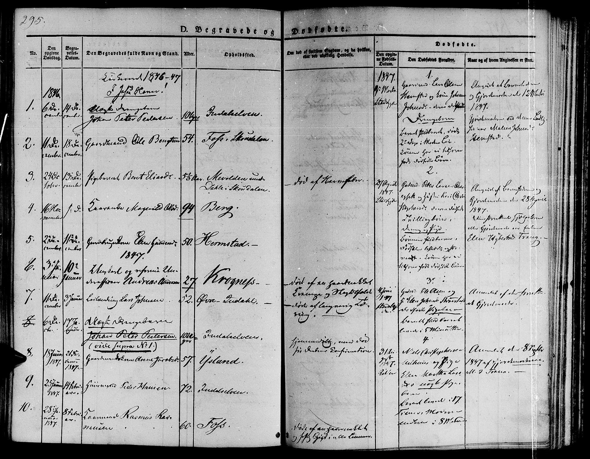 SAT, Ministerialprotokoller, klokkerbøker og fødselsregistre - Sør-Trøndelag, 646/L0610: Ministerialbok nr. 646A08, 1837-1847, s. 295