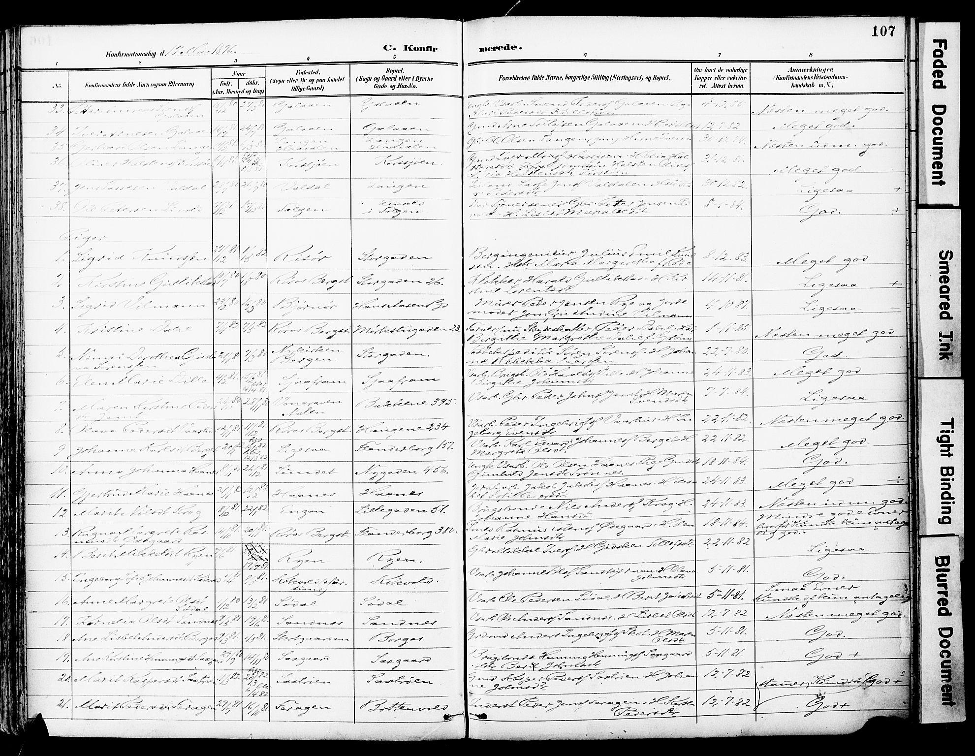 SAT, Ministerialprotokoller, klokkerbøker og fødselsregistre - Sør-Trøndelag, 681/L0935: Ministerialbok nr. 681A13, 1890-1898, s. 107
