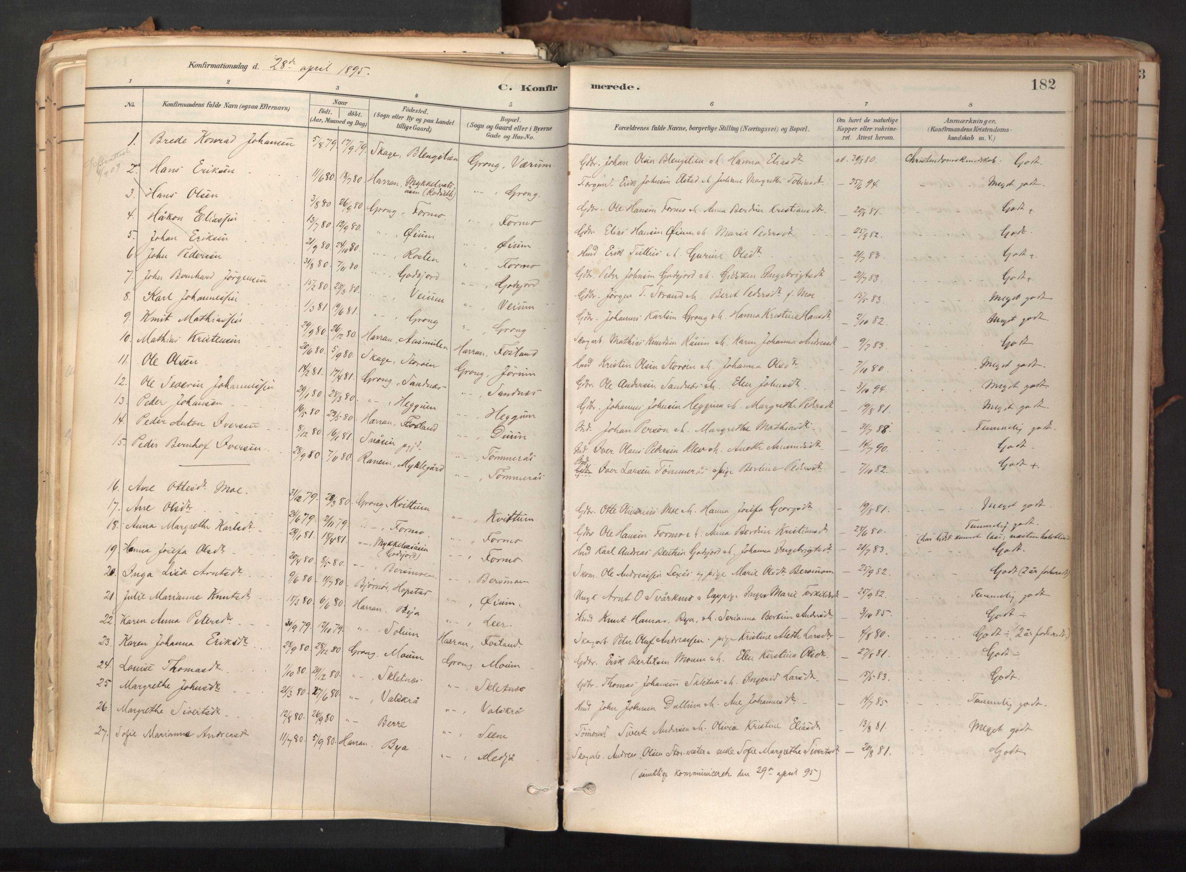 SAT, Ministerialprotokoller, klokkerbøker og fødselsregistre - Nord-Trøndelag, 758/L0519: Ministerialbok nr. 758A04, 1880-1926, s. 182