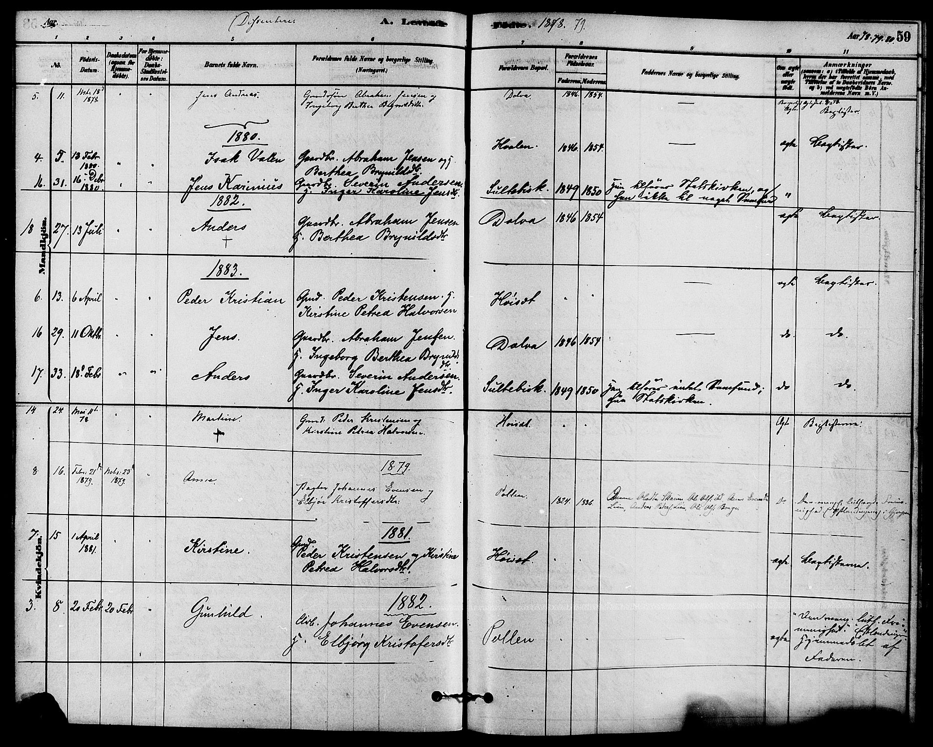 SAKO, Solum kirkebøker, F/Fb/L0001: Ministerialbok nr. II 1, 1877-1892, s. 59