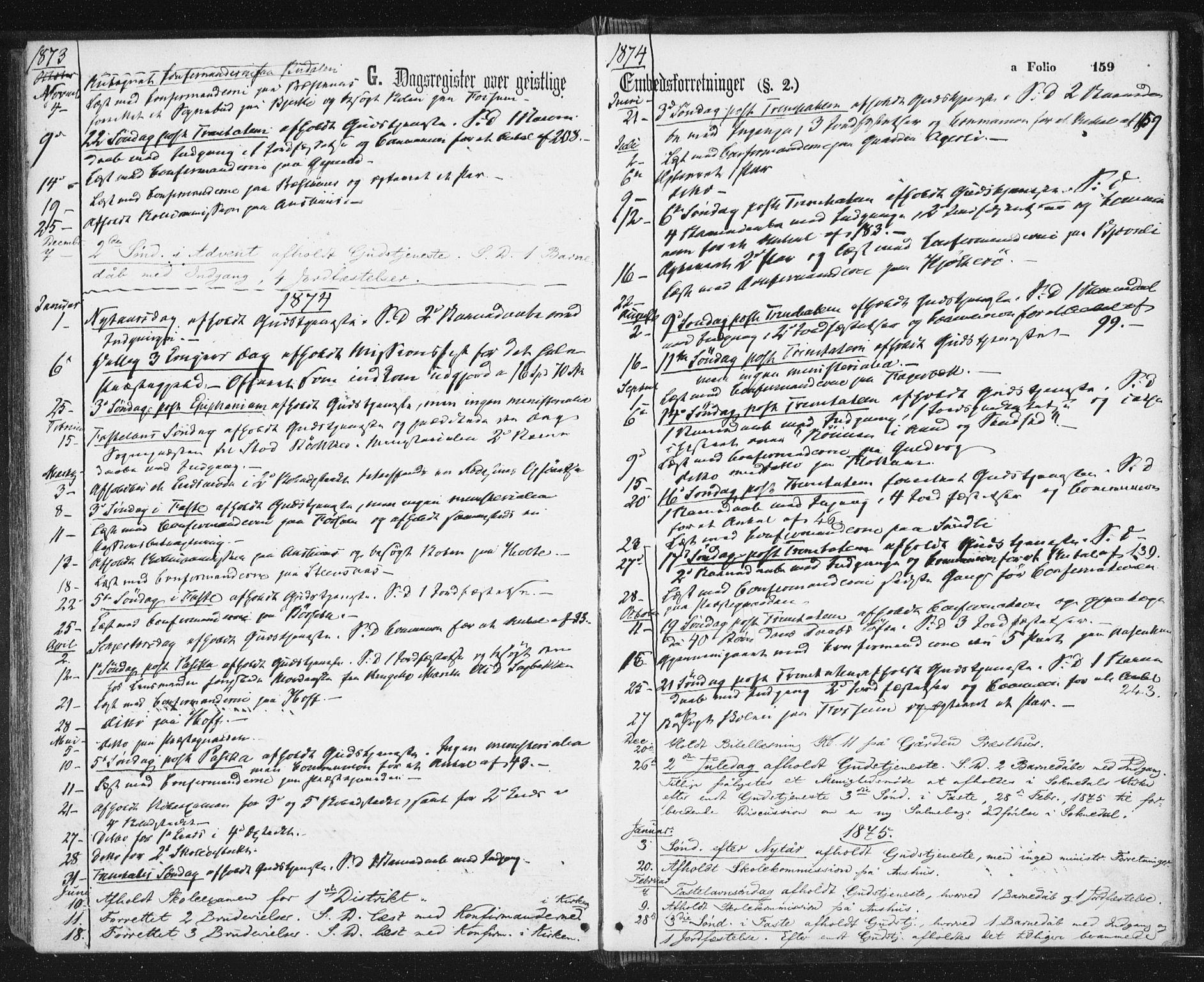 SAT, Ministerialprotokoller, klokkerbøker og fødselsregistre - Sør-Trøndelag, 689/L1039: Ministerialbok nr. 689A04, 1865-1878, s. 159