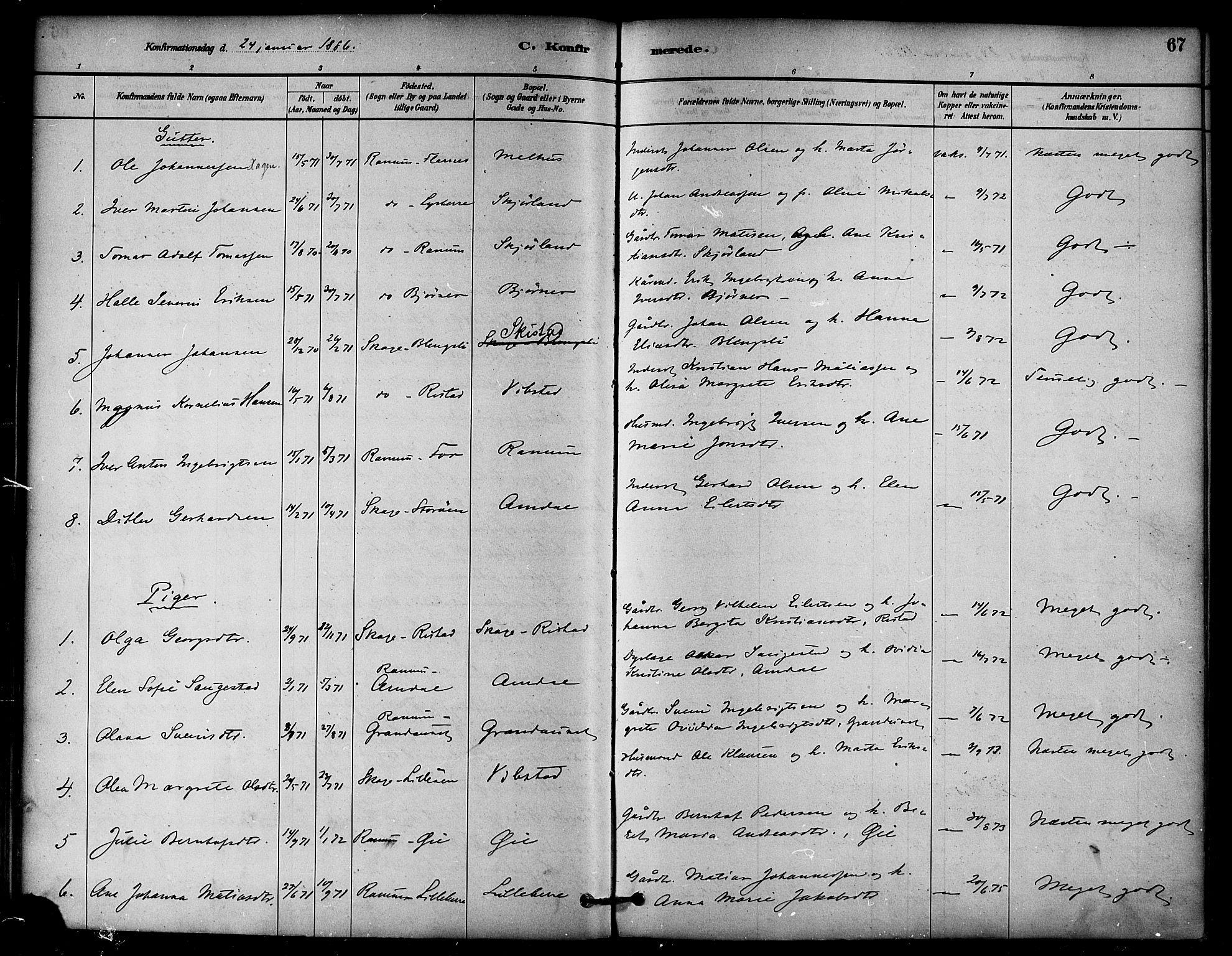 SAT, Ministerialprotokoller, klokkerbøker og fødselsregistre - Nord-Trøndelag, 764/L0555: Ministerialbok nr. 764A10, 1881-1896, s. 67