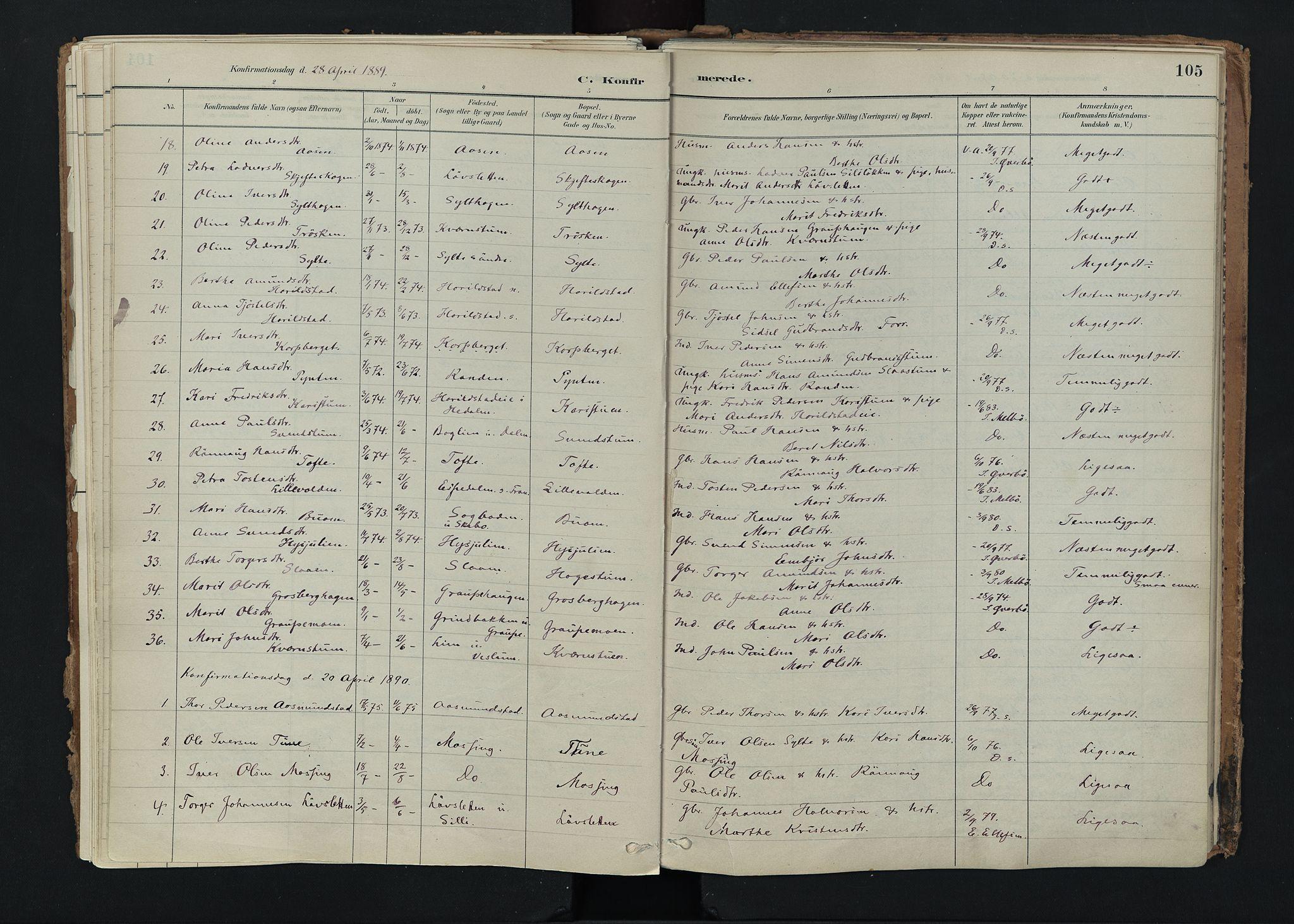 SAH, Nord-Fron prestekontor, Ministerialbok nr. 5, 1884-1914, s. 105