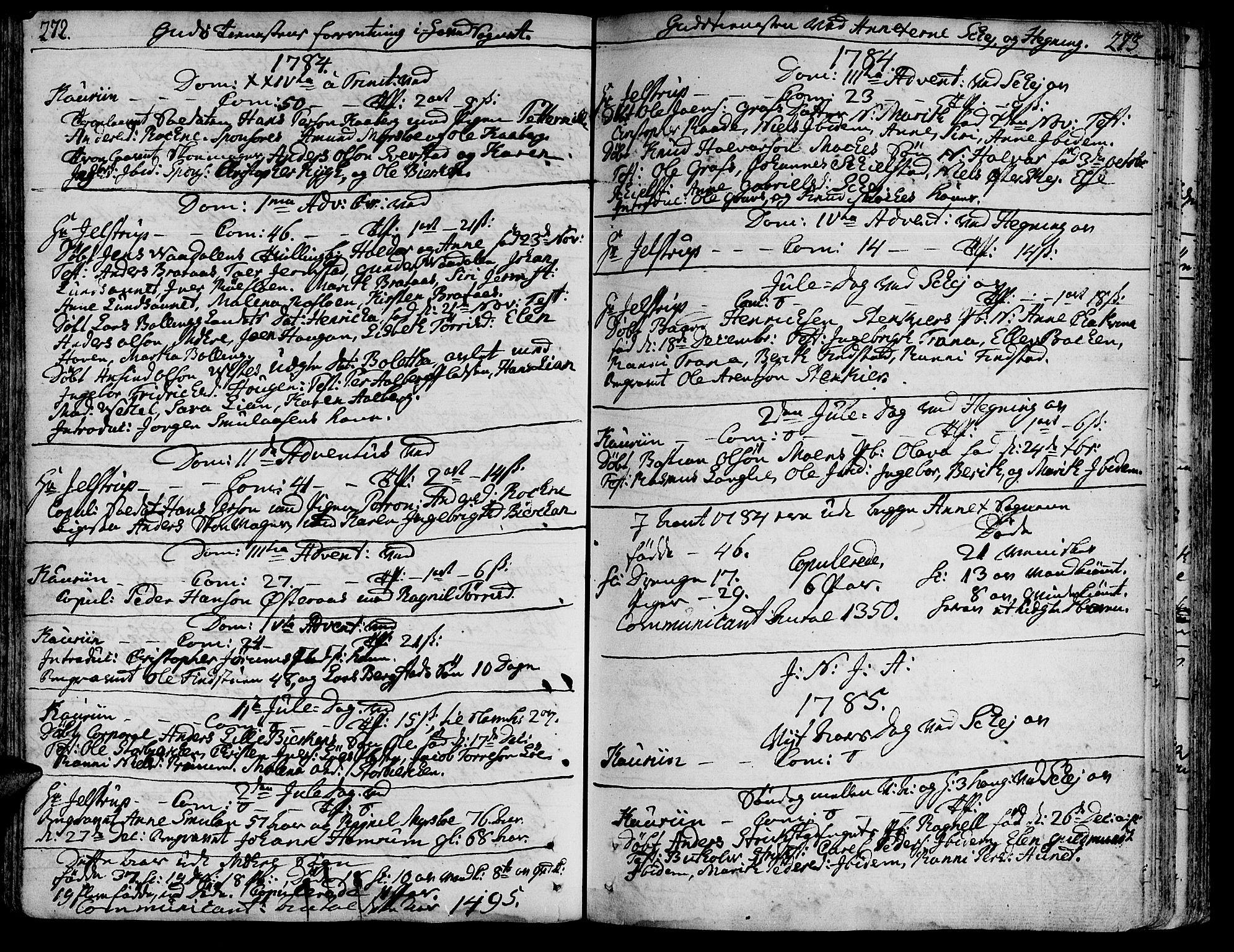 SAT, Ministerialprotokoller, klokkerbøker og fødselsregistre - Nord-Trøndelag, 735/L0331: Ministerialbok nr. 735A02, 1762-1794, s. 272-273