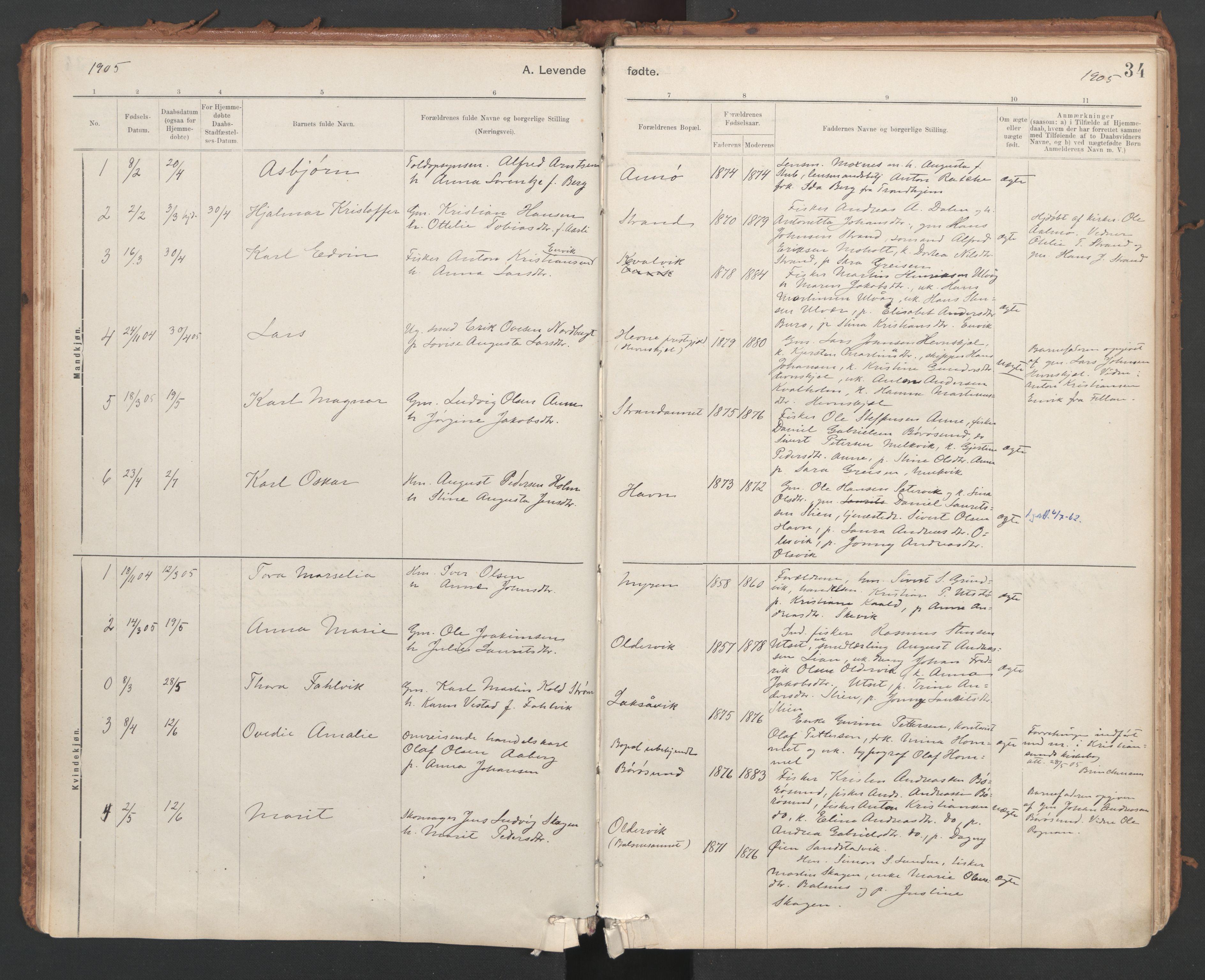 SAT, Ministerialprotokoller, klokkerbøker og fødselsregistre - Sør-Trøndelag, 639/L0572: Ministerialbok nr. 639A01, 1890-1920, s. 34