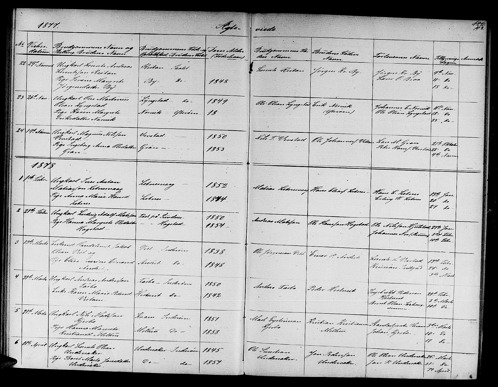 SAT, Ministerialprotokoller, klokkerbøker og fødselsregistre - Nord-Trøndelag, 730/L0300: Klokkerbok nr. 730C03, 1872-1879, s. 108