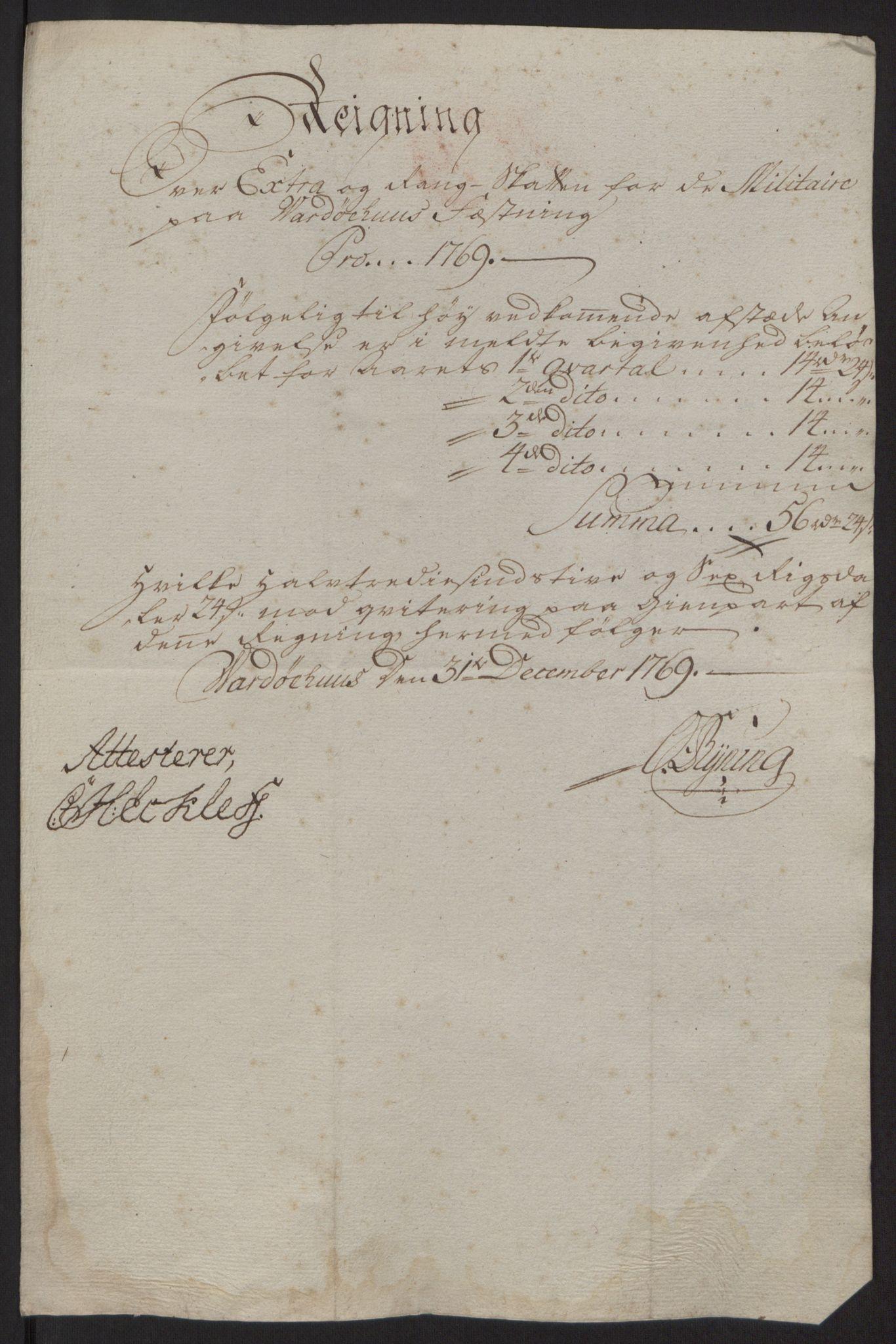 RA, Rentekammeret inntil 1814, Reviderte regnskaper, Fogderegnskap, R69/L4910: Ekstraskatten  Finnmark/Vardøhus, 1762-1772, s. 399