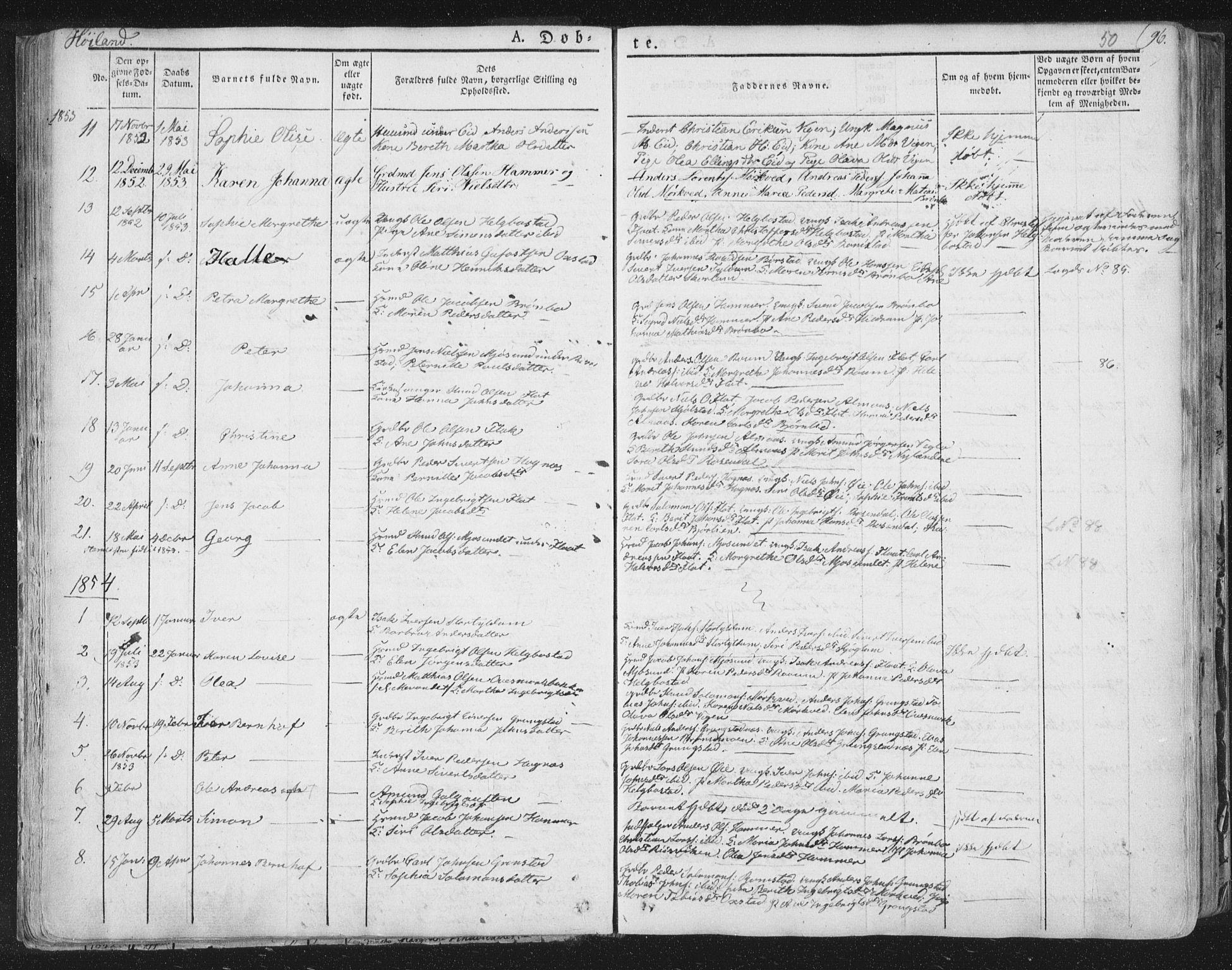 SAT, Ministerialprotokoller, klokkerbøker og fødselsregistre - Nord-Trøndelag, 758/L0513: Ministerialbok nr. 758A02 /2, 1839-1868, s. 50