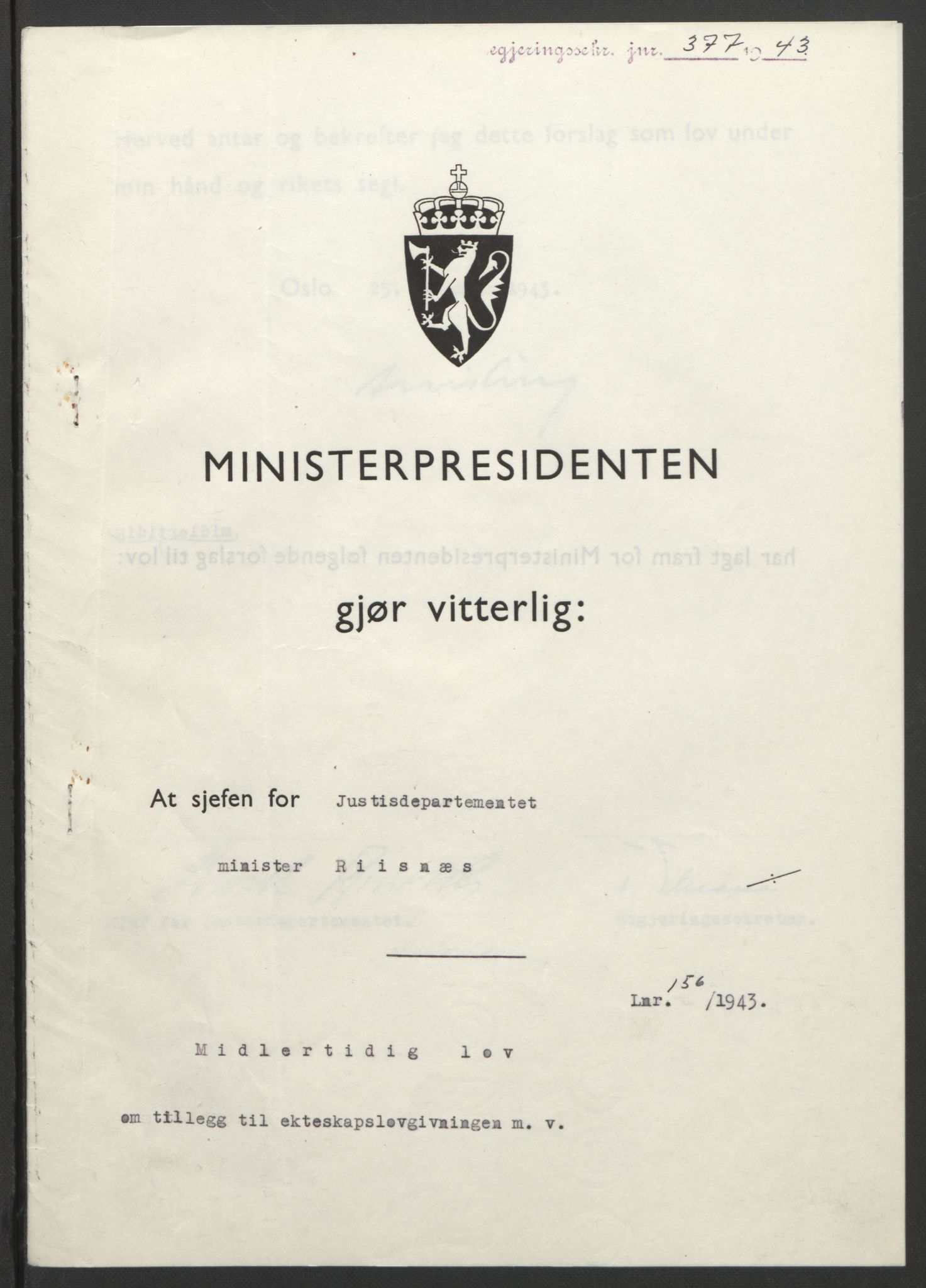 RA, NS-administrasjonen 1940-1945 (Statsrådsekretariatet, de kommisariske statsråder mm), D/Db/L0099: Lover, 1943, s. 739
