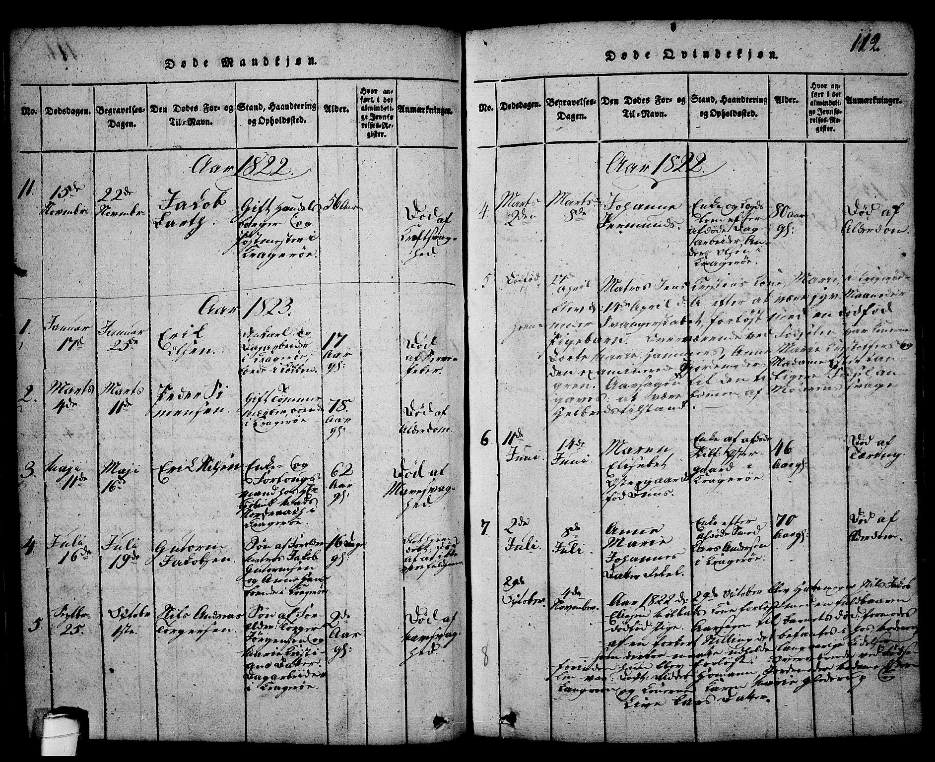 SAKO, Kragerø kirkebøker, G/Ga/L0002: Klokkerbok nr. 2, 1814-1831, s. 112