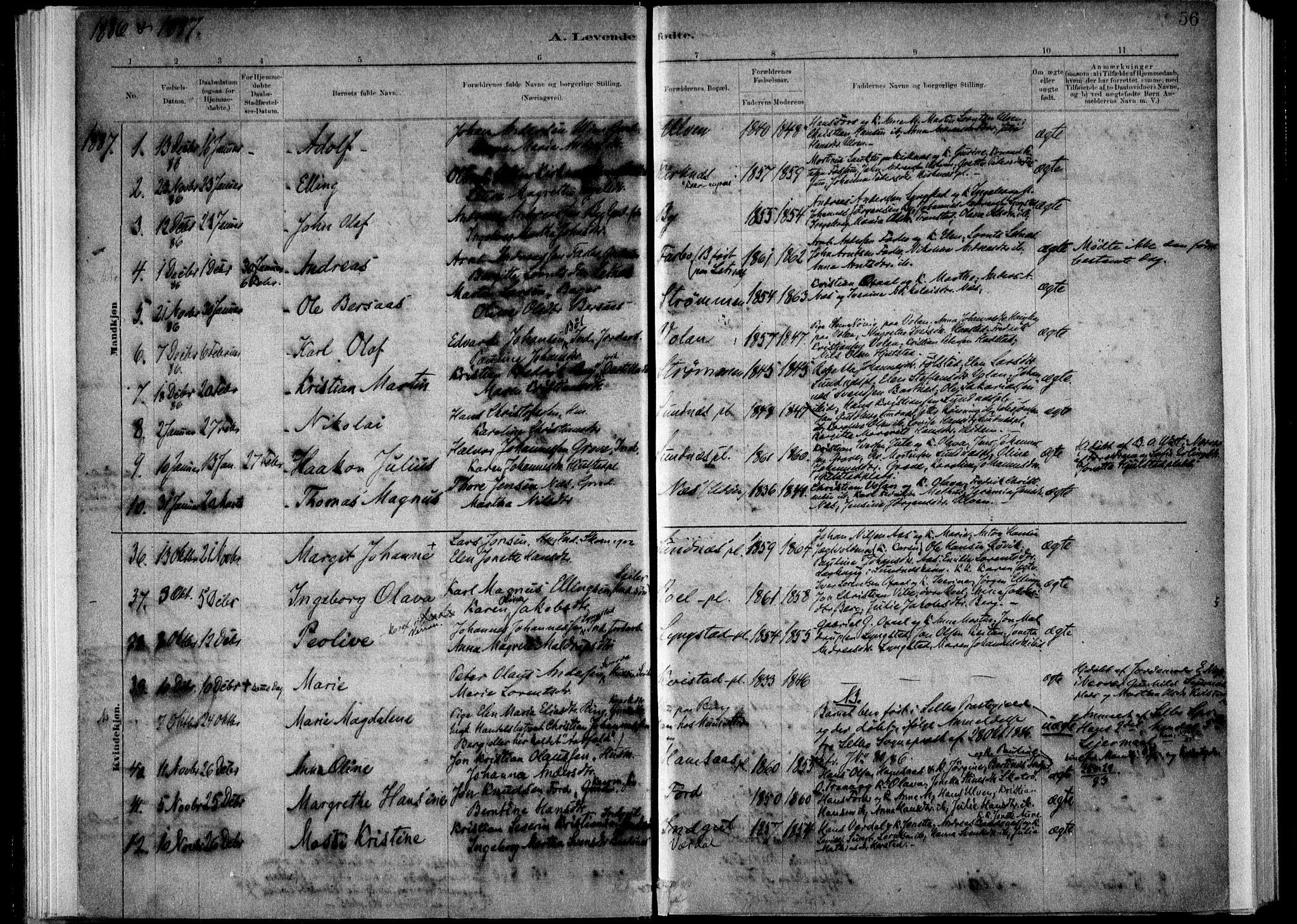 SAT, Ministerialprotokoller, klokkerbøker og fødselsregistre - Nord-Trøndelag, 730/L0285: Ministerialbok nr. 730A10, 1879-1914, s. 56