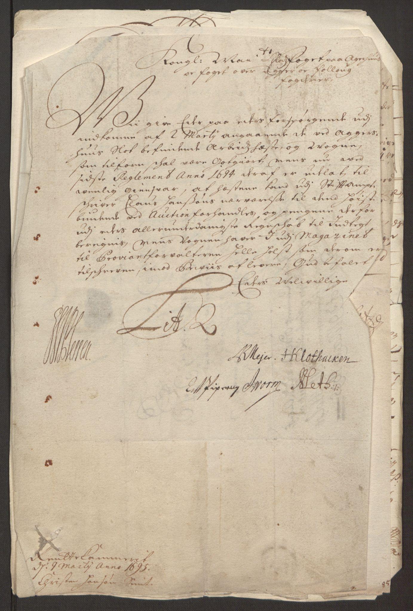 RA, Rentekammeret inntil 1814, Reviderte regnskaper, Fogderegnskap, R10/L0439: Fogderegnskap Aker og Follo, 1695, s. 213