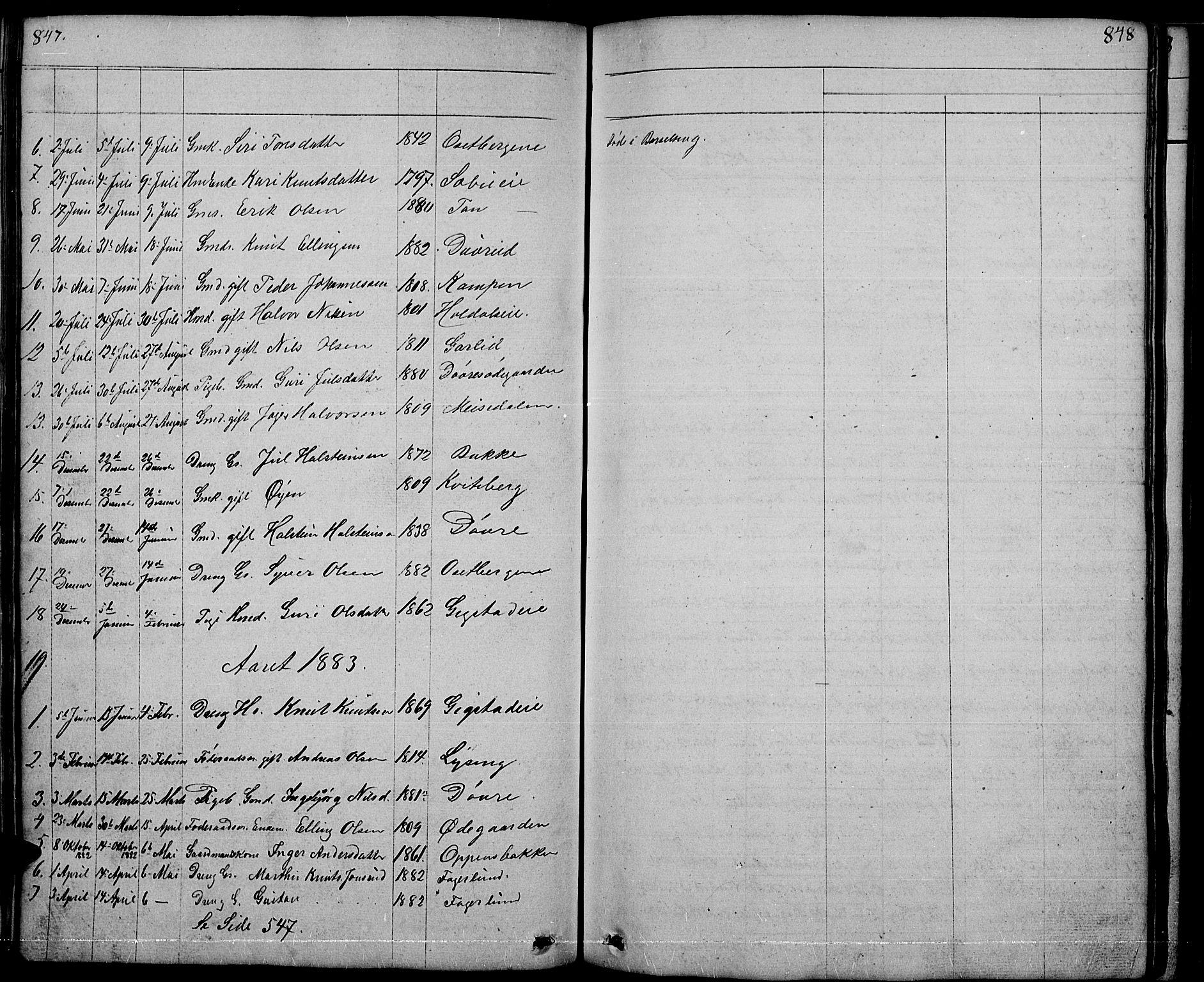 SAH, Nord-Aurdal prestekontor, Klokkerbok nr. 1, 1834-1887, s. 847-848