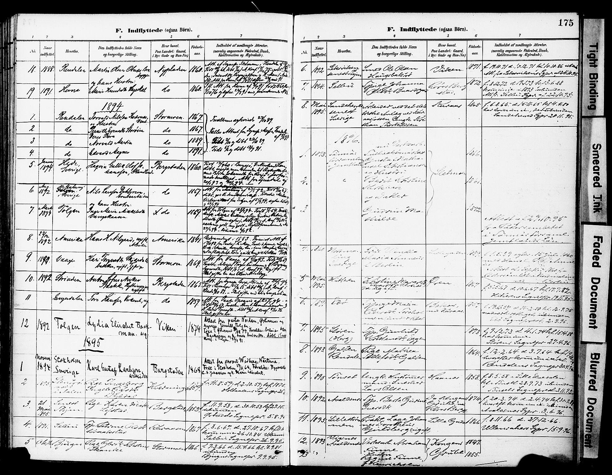 SAT, Ministerialprotokoller, klokkerbøker og fødselsregistre - Sør-Trøndelag, 681/L0935: Ministerialbok nr. 681A13, 1890-1898, s. 175