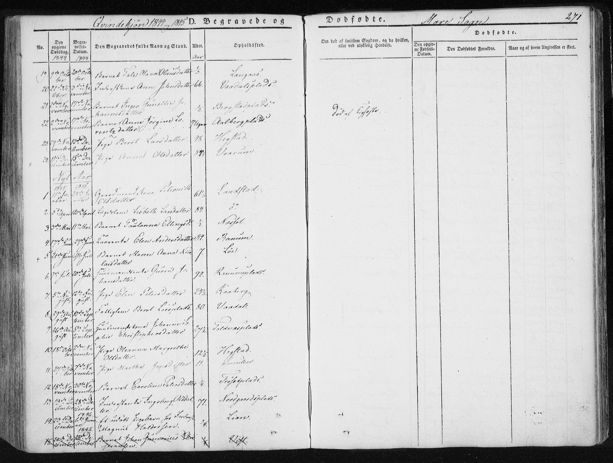 SAT, Ministerialprotokoller, klokkerbøker og fødselsregistre - Nord-Trøndelag, 735/L0339: Ministerialbok nr. 735A06 /1, 1836-1848, s. 271