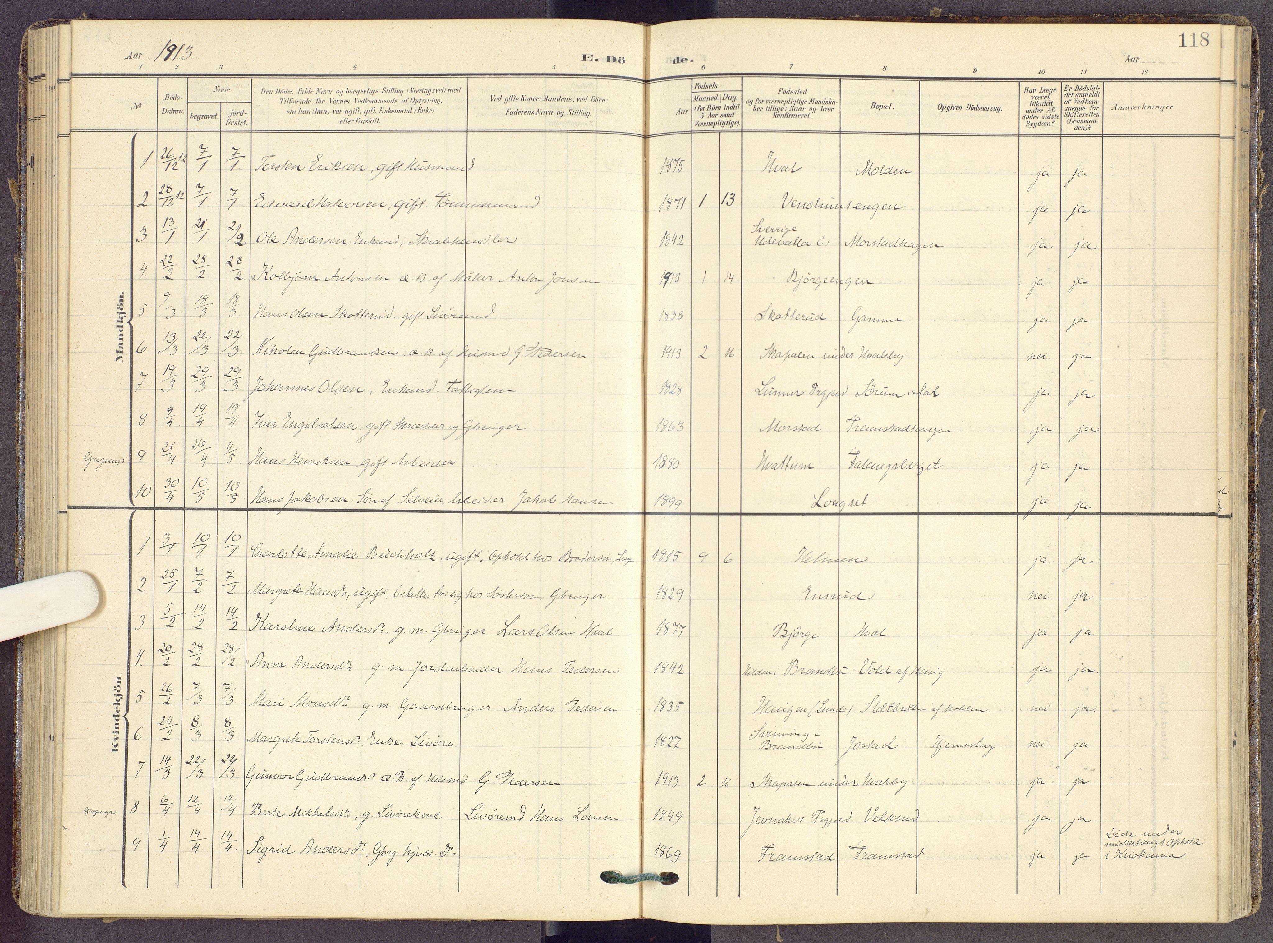 SAH, Gran prestekontor, Ministerialbok nr. 22, 1908-1918, s. 118