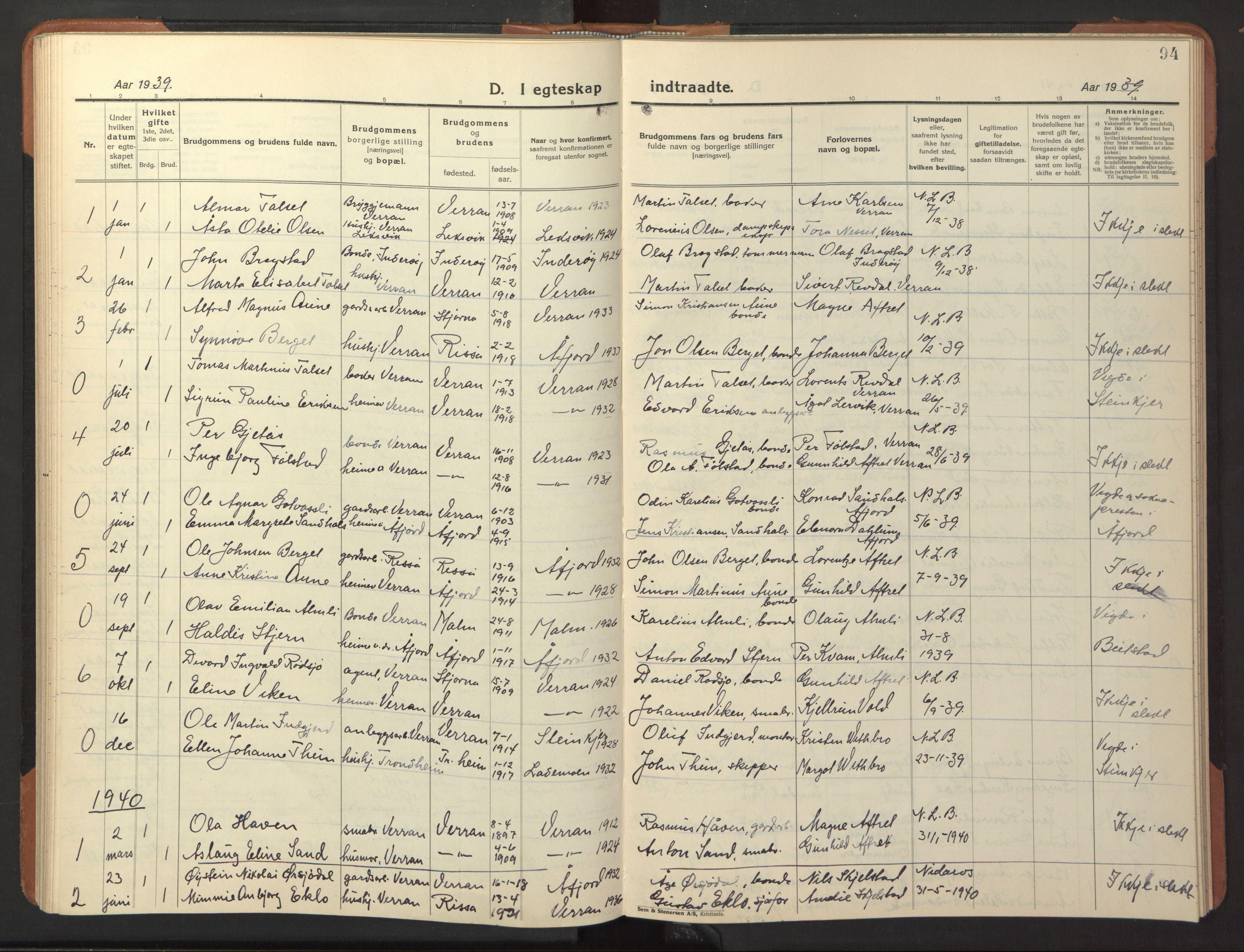 SAT, Ministerialprotokoller, klokkerbøker og fødselsregistre - Nord-Trøndelag, 744/L0425: Klokkerbok nr. 744C04, 1924-1947, s. 94