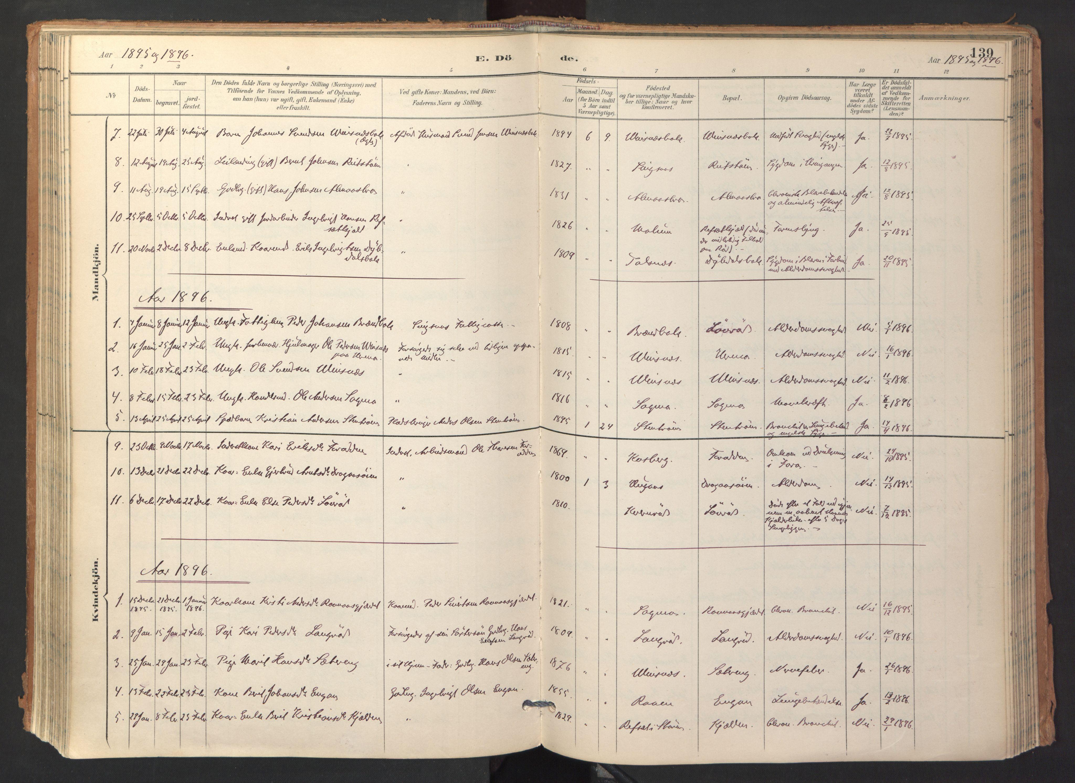 SAT, Ministerialprotokoller, klokkerbøker og fødselsregistre - Sør-Trøndelag, 688/L1025: Ministerialbok nr. 688A02, 1891-1909, s. 139