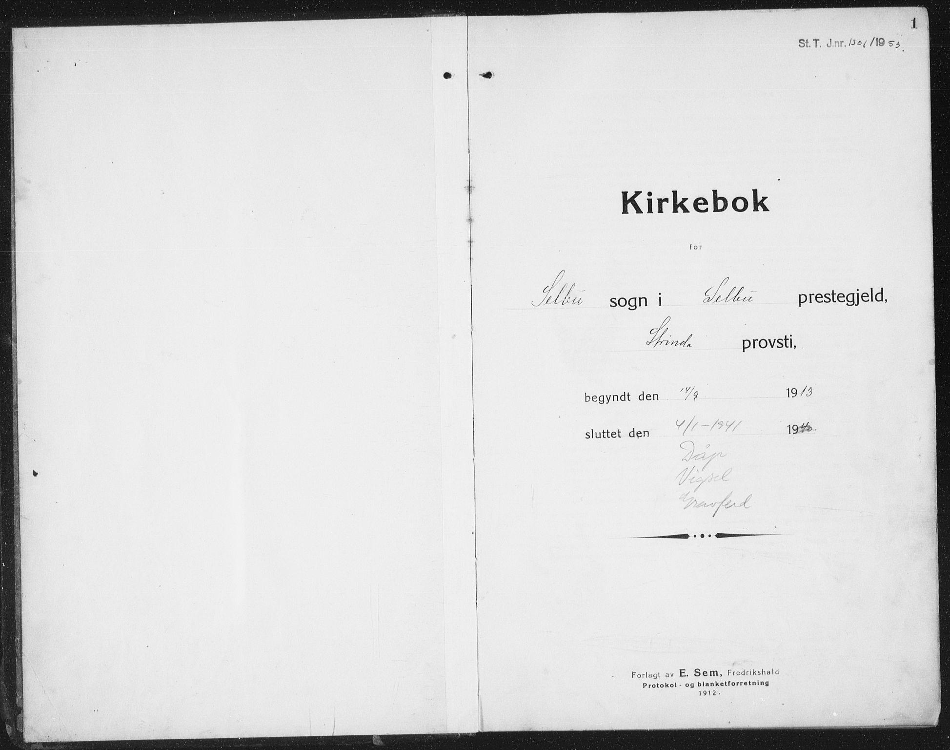 SAT, Ministerialprotokoller, klokkerbøker og fødselsregistre - Sør-Trøndelag, 695/L1158: Klokkerbok nr. 695C09, 1913-1940, s. 1