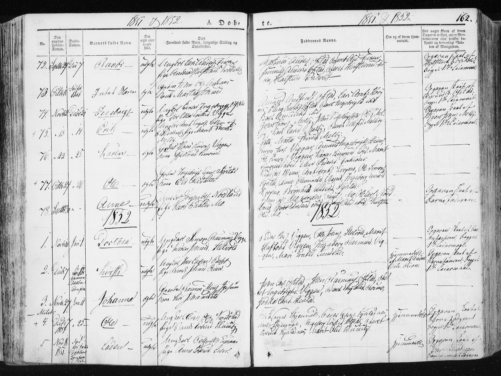 SAT, Ministerialprotokoller, klokkerbøker og fødselsregistre - Sør-Trøndelag, 665/L0771: Ministerialbok nr. 665A06, 1830-1856, s. 162