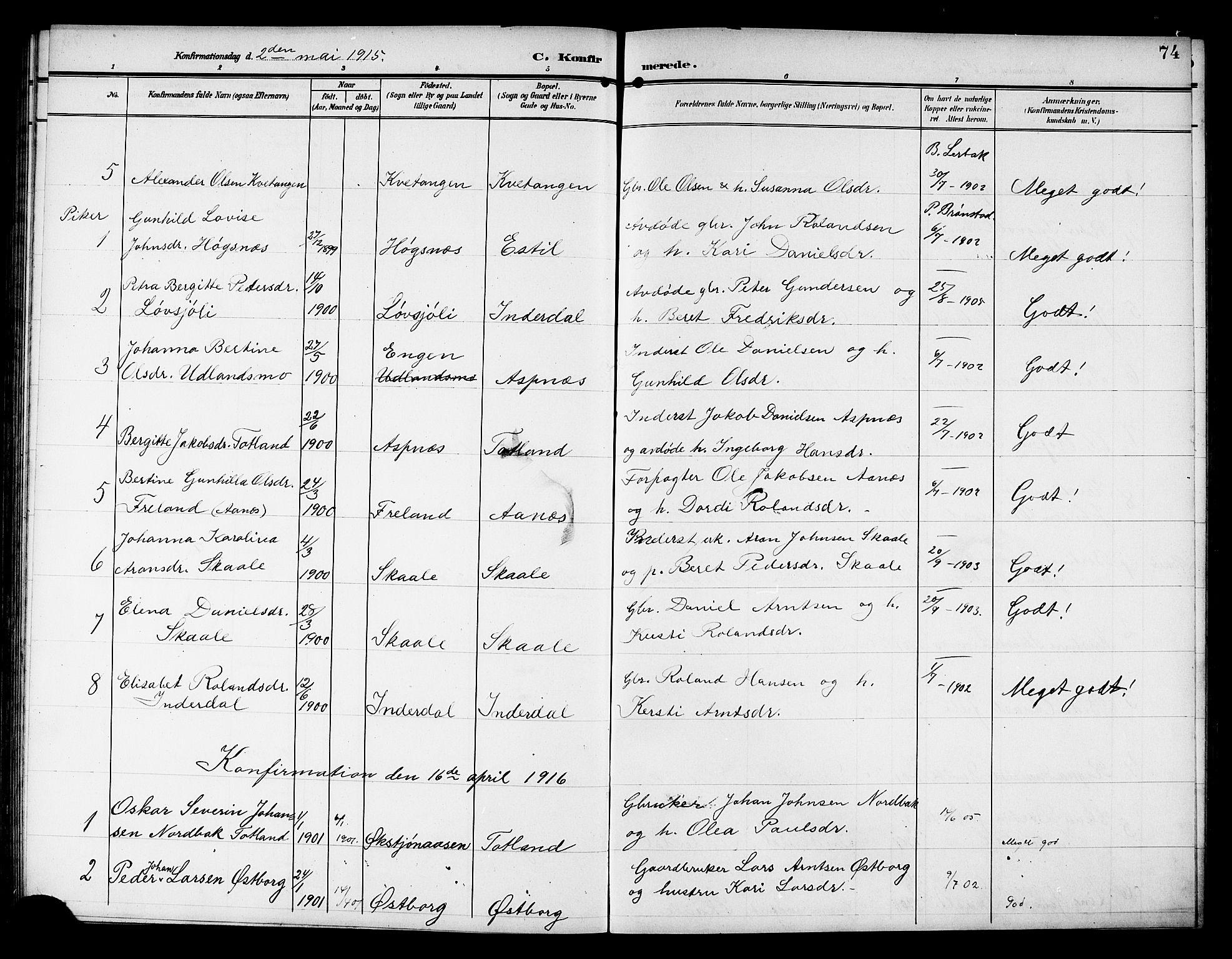 SAT, Ministerialprotokoller, klokkerbøker og fødselsregistre - Nord-Trøndelag, 757/L0506: Klokkerbok nr. 757C01, 1904-1922, s. 74