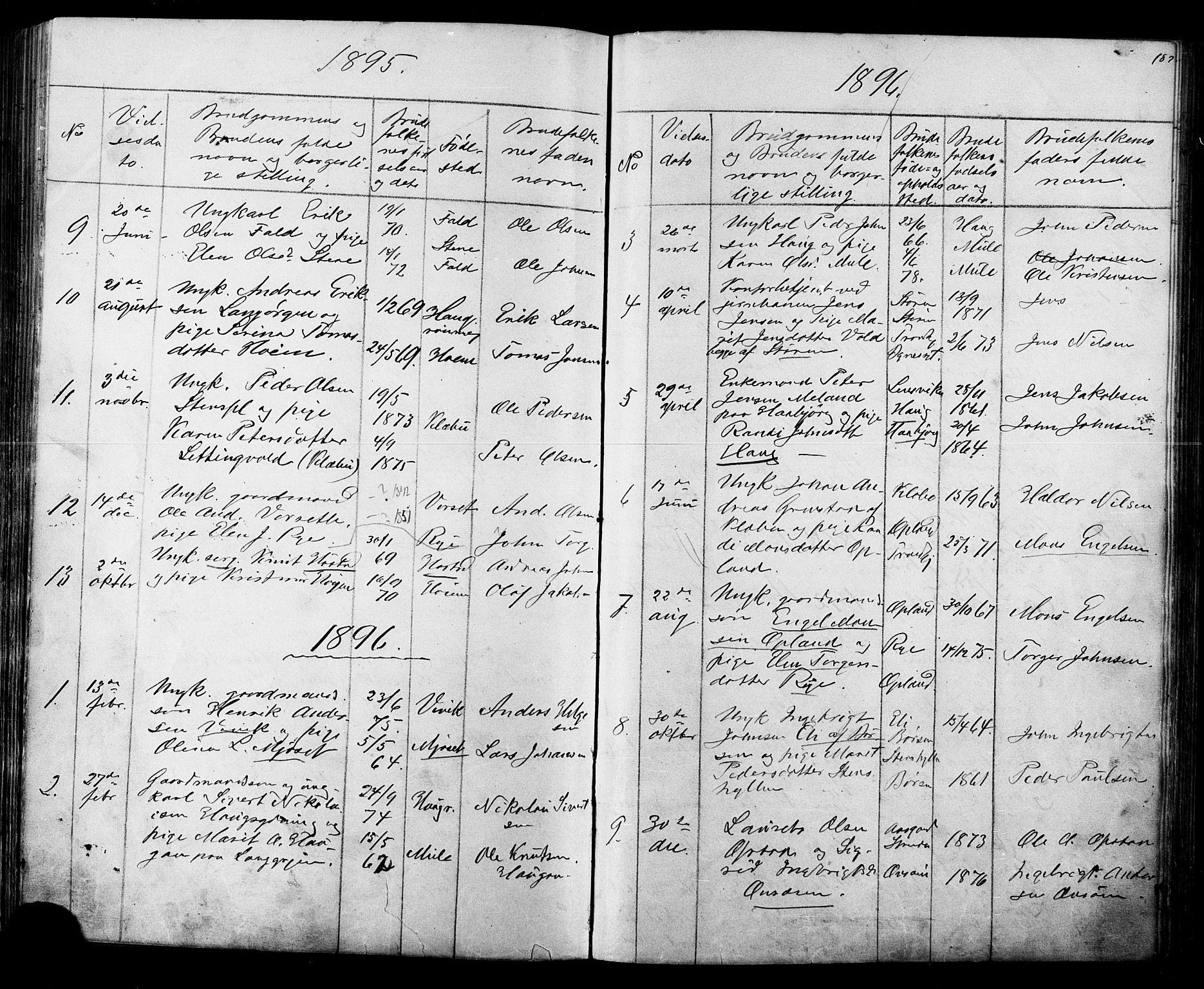 SAT, Ministerialprotokoller, klokkerbøker og fødselsregistre - Sør-Trøndelag, 612/L0387: Klokkerbok nr. 612C03, 1874-1908, s. 187