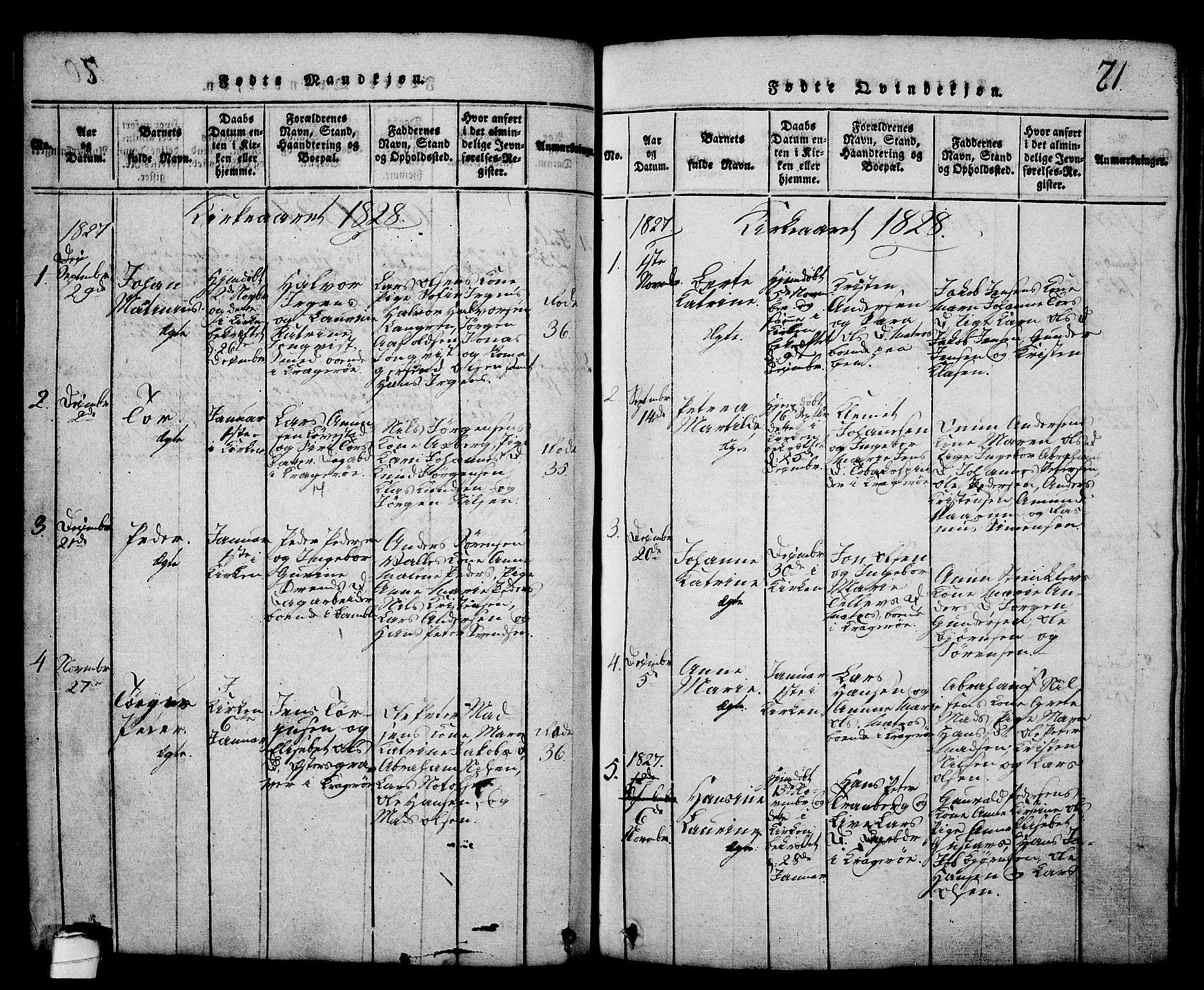 SAKO, Kragerø kirkebøker, G/Ga/L0002: Klokkerbok nr. 2, 1814-1831, s. 71