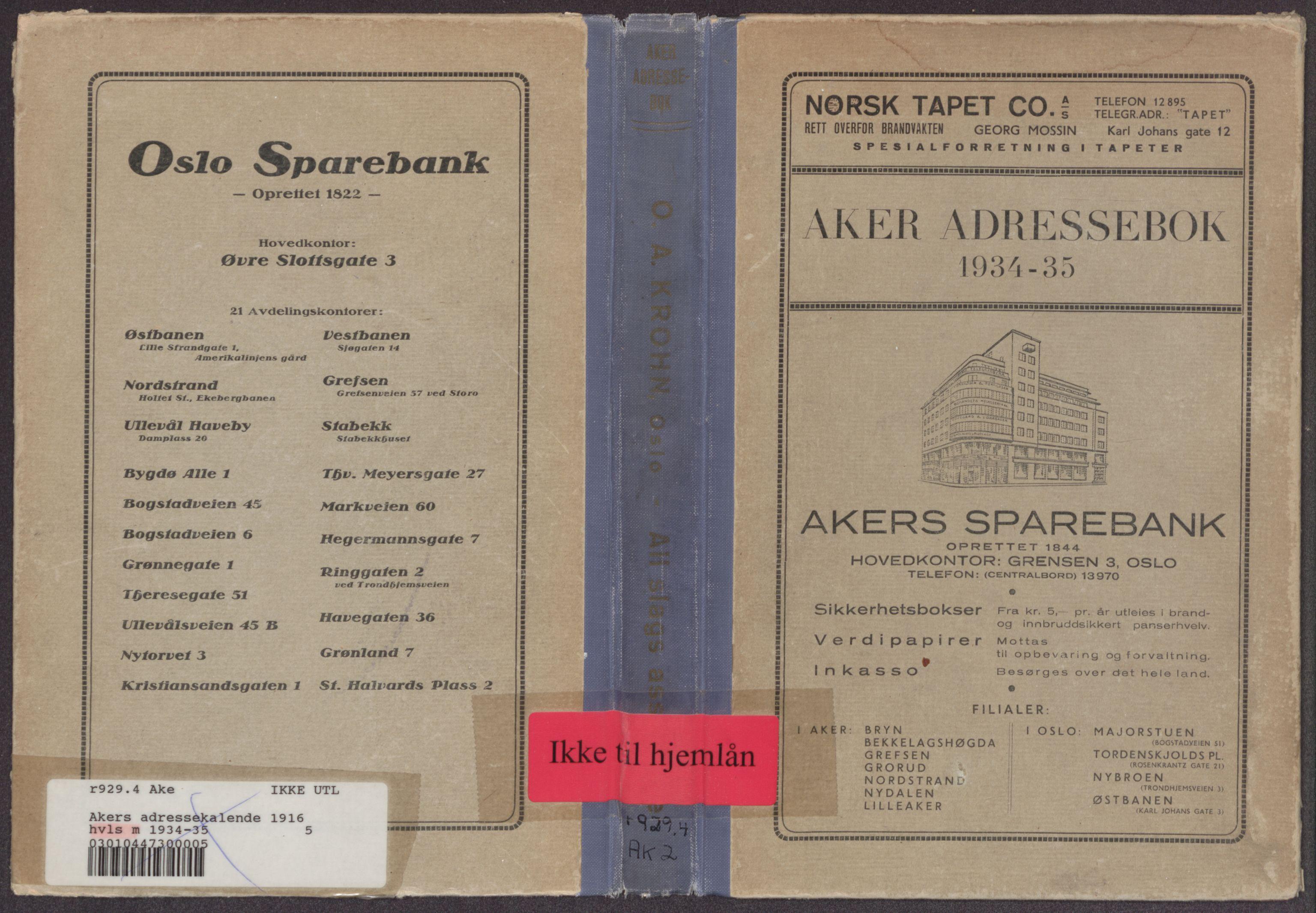PUBL, Aker adressebok/adressekalender, 1934-1935