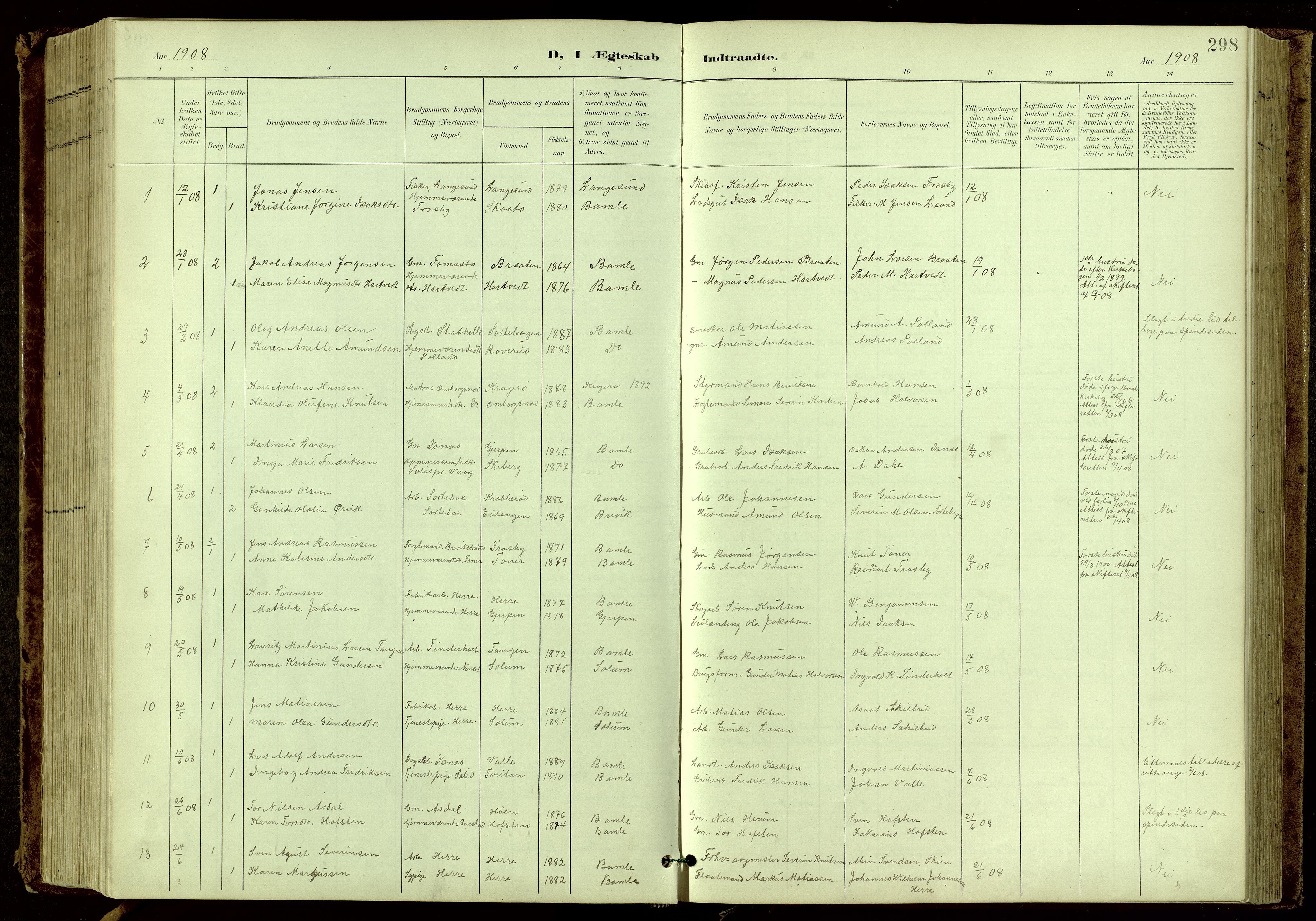 SAKO, Bamble kirkebøker, G/Ga/L0010: Klokkerbok nr. I 10, 1901-1919, s. 298