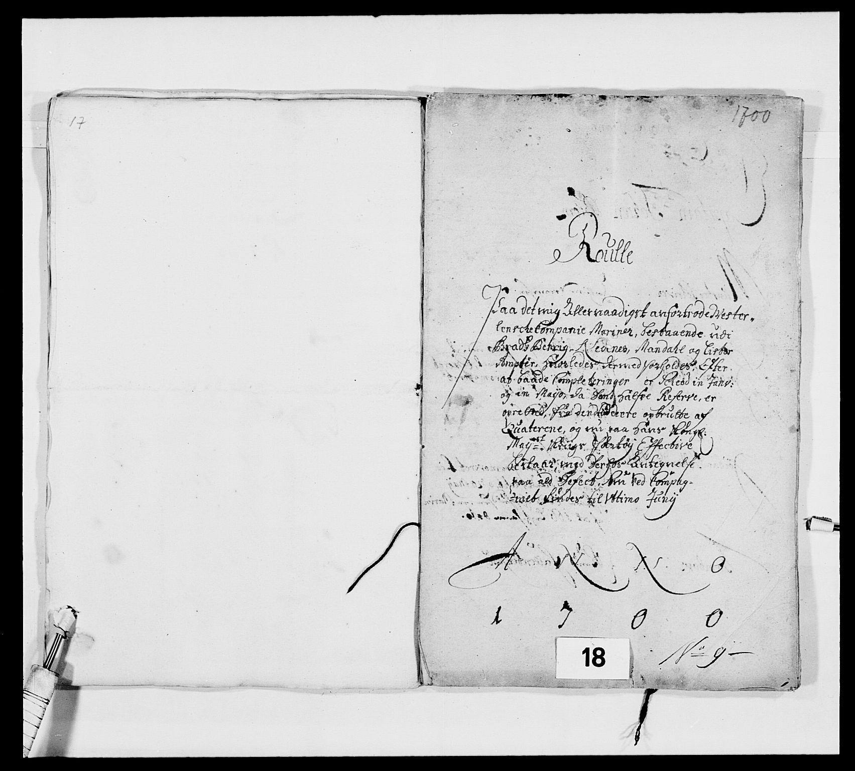 RA, Kommanderende general (KG I) med Det norske krigsdirektorium, E/Ea/L0473: Marineregimentet, 1664-1700, s. 234