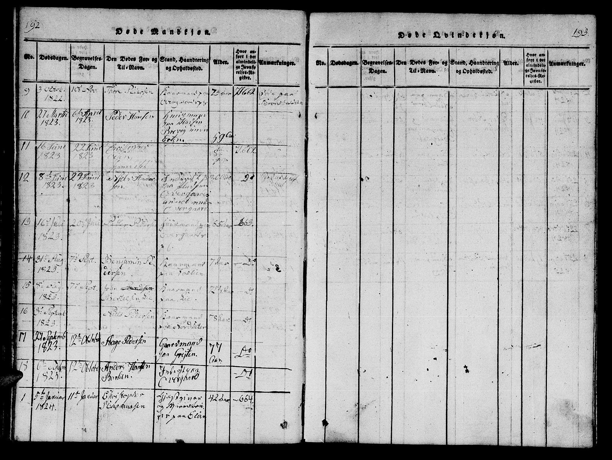 SAT, Ministerialprotokoller, klokkerbøker og fødselsregistre - Nord-Trøndelag, 742/L0411: Klokkerbok nr. 742C02, 1817-1825, s. 192-193