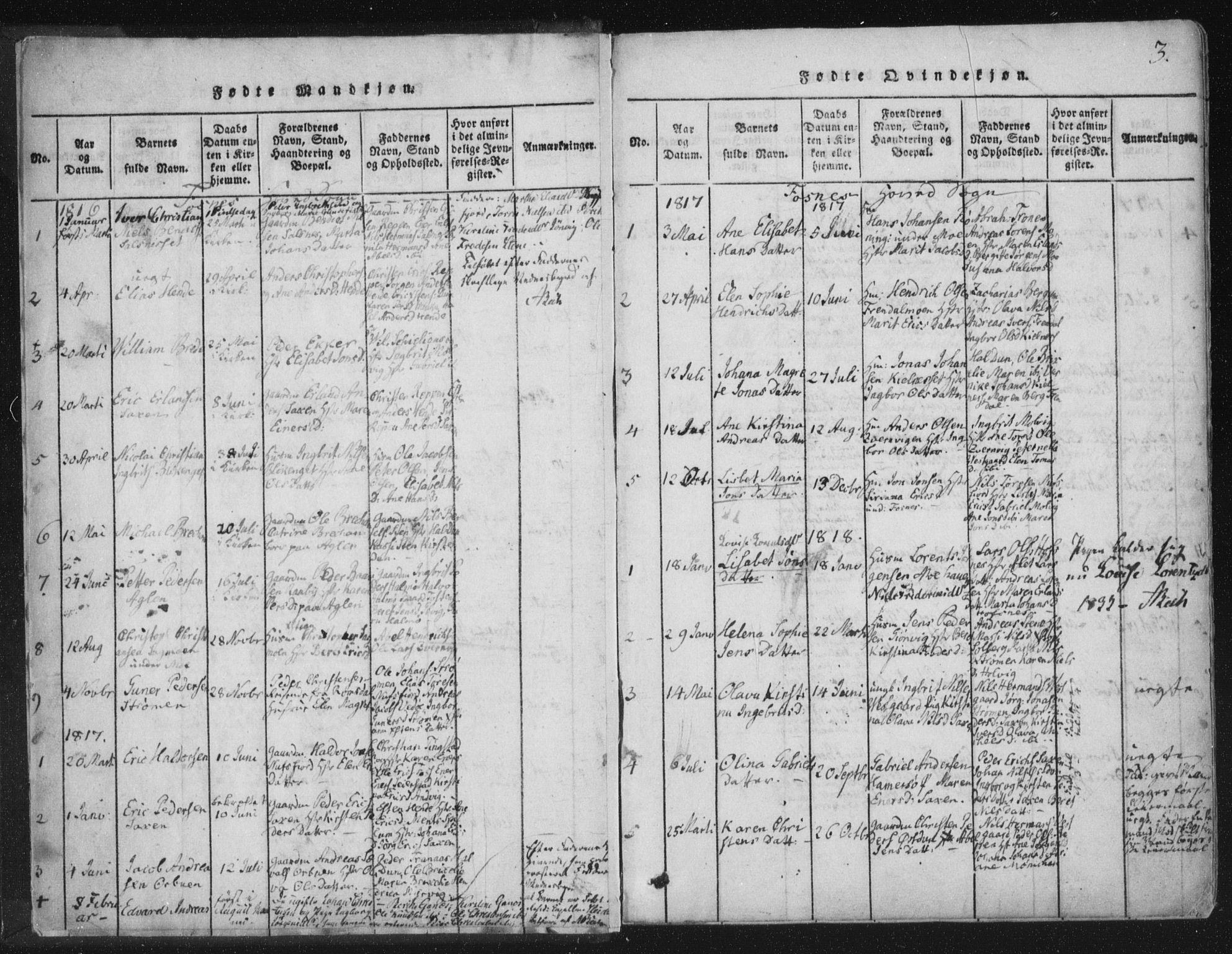 SAT, Ministerialprotokoller, klokkerbøker og fødselsregistre - Nord-Trøndelag, 773/L0609: Ministerialbok nr. 773A03 /1, 1815-1830, s. 3