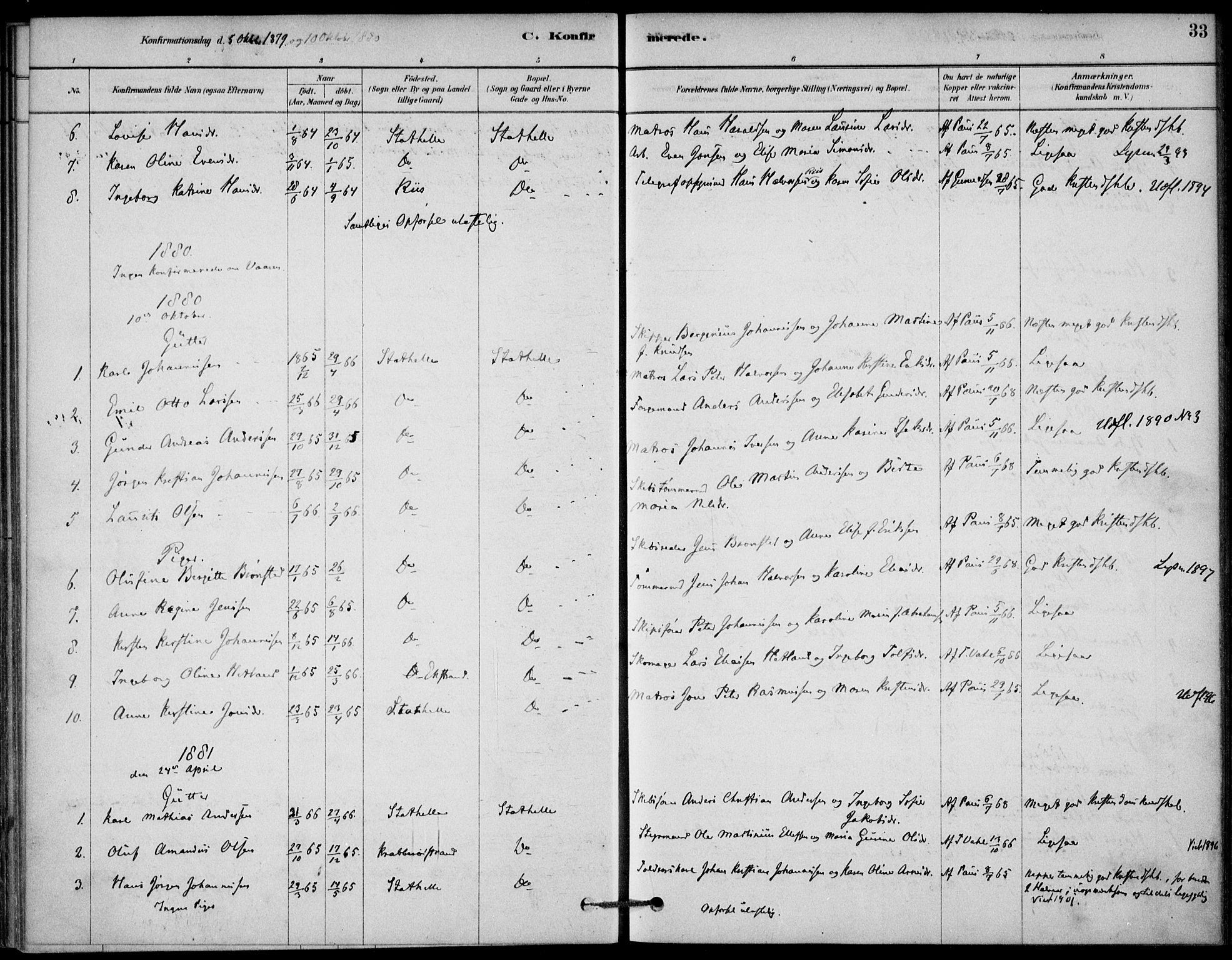 SAKO, Bamble kirkebøker, G/Gb/L0001: Klokkerbok nr. II 1, 1878-1900, s. 33