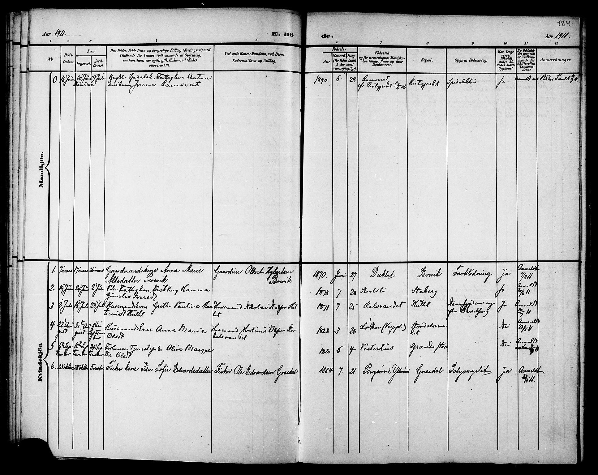 SAT, Ministerialprotokoller, klokkerbøker og fødselsregistre - Nord-Trøndelag, 733/L0327: Klokkerbok nr. 733C02, 1888-1918, s. 184