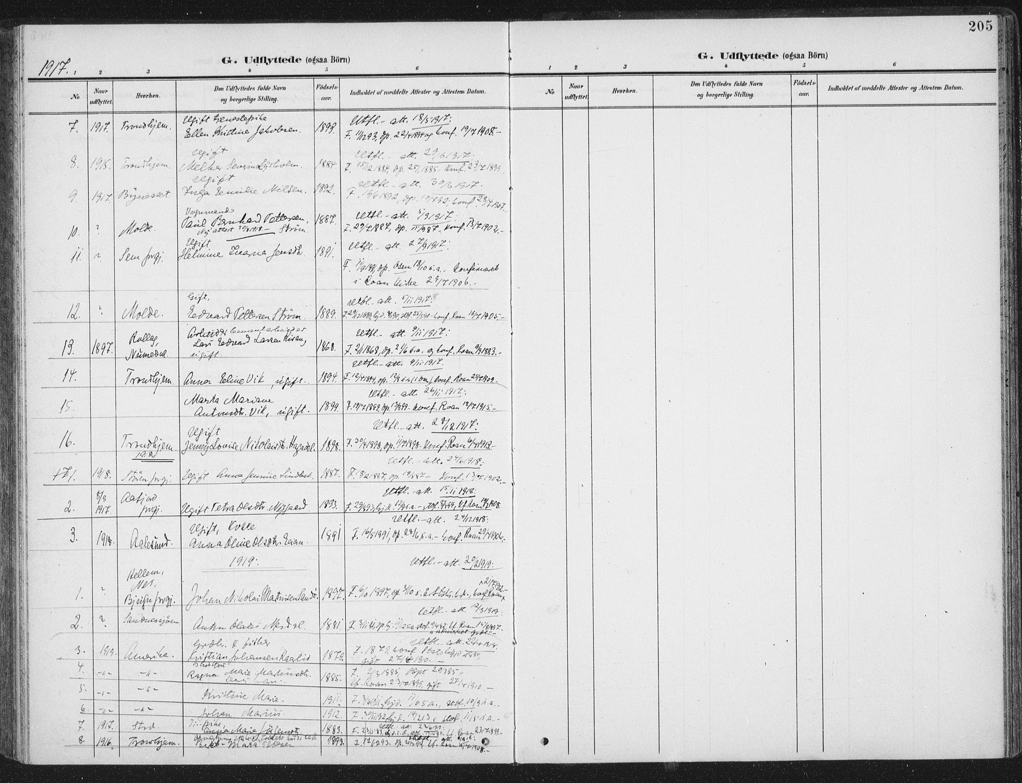 SAT, Ministerialprotokoller, klokkerbøker og fødselsregistre - Sør-Trøndelag, 657/L0709: Ministerialbok nr. 657A10, 1905-1919, s. 205