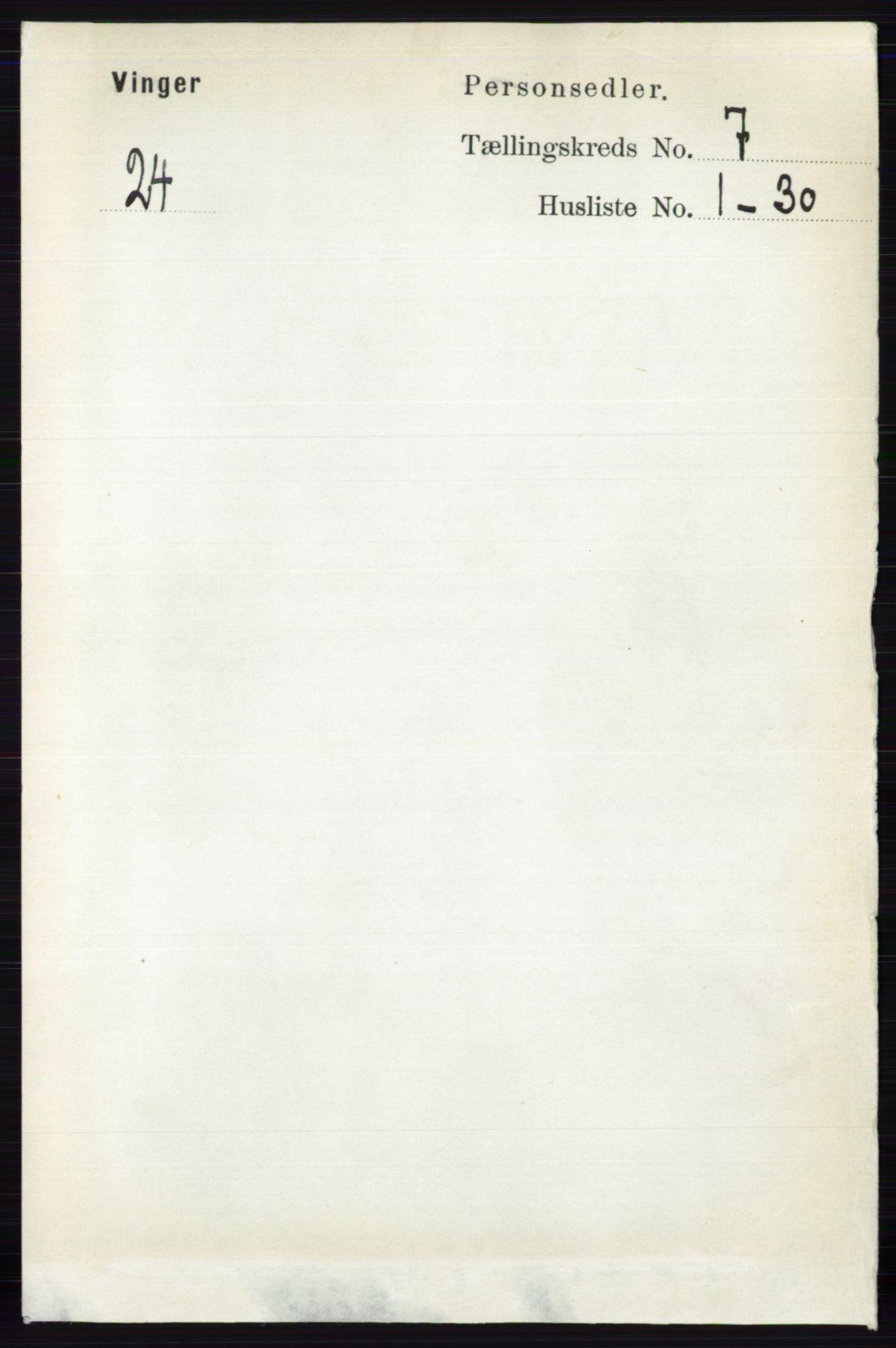 RA, Folketelling 1891 for 0421 Vinger herred, 1891, s. 3231
