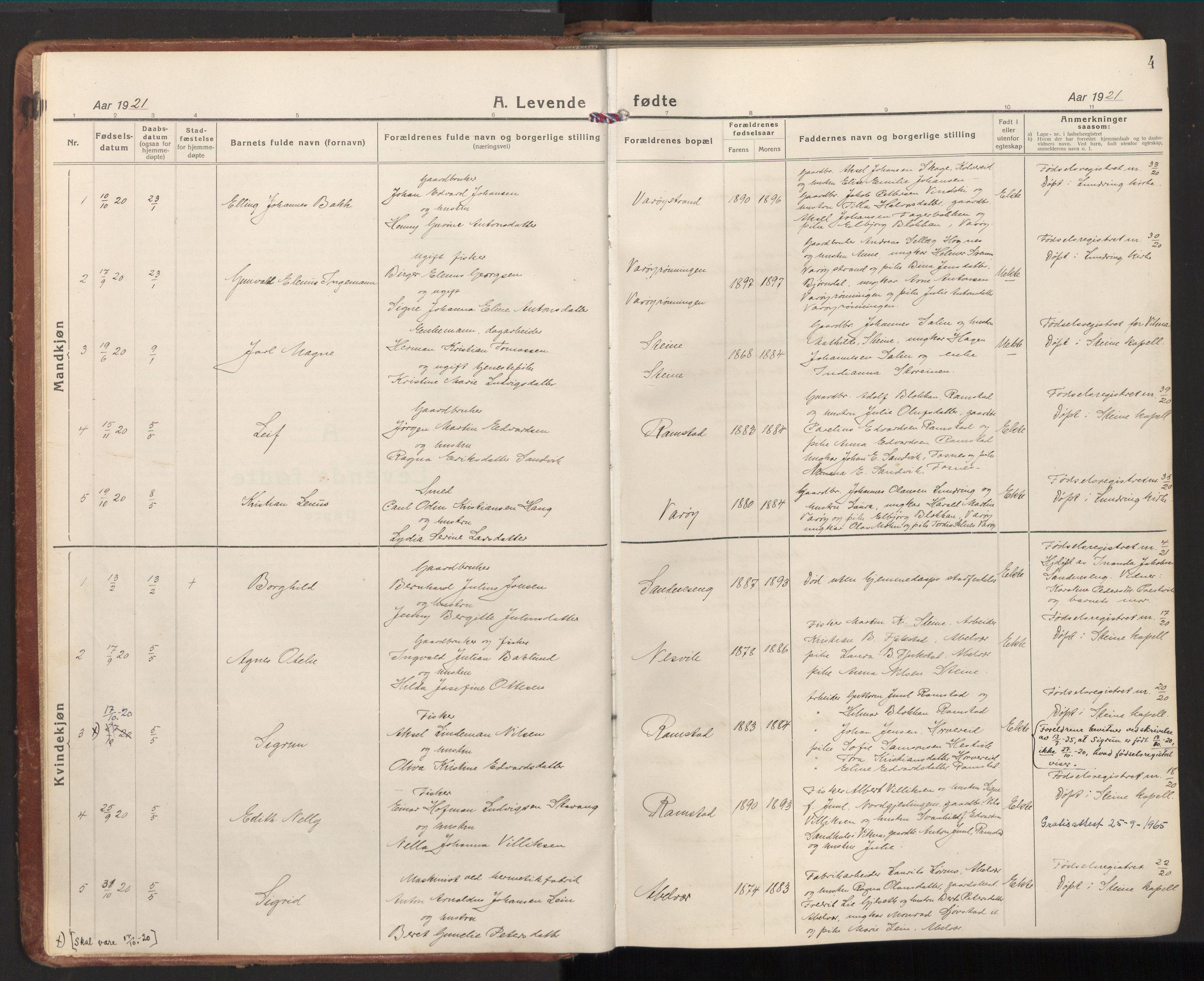 SAT, Ministerialprotokoller, klokkerbøker og fødselsregistre - Nord-Trøndelag, 784/L0678: Ministerialbok nr. 784A13, 1921-1938, s. 4